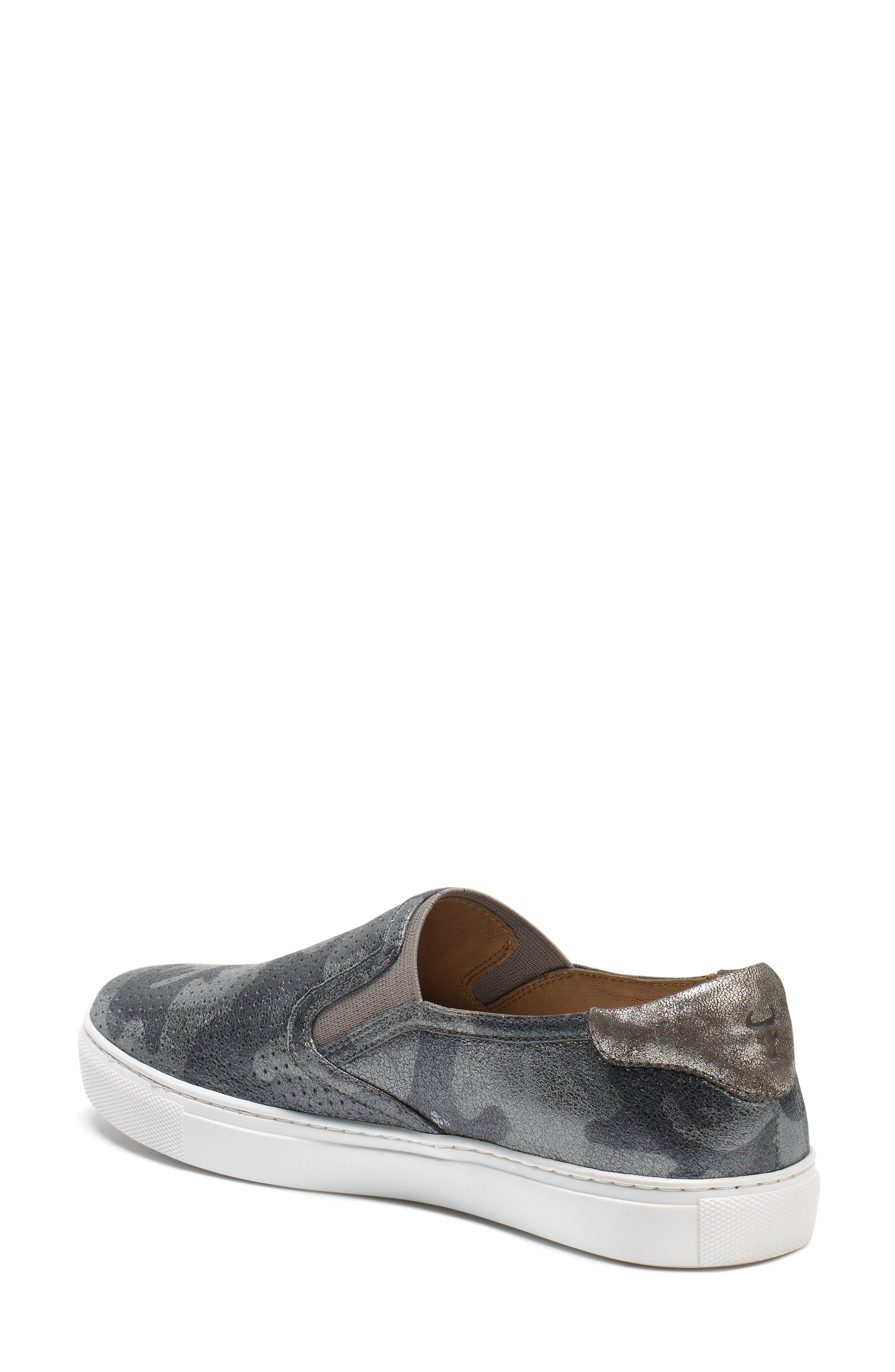 Lillian Water Resistant Slip-On Sneaker,                             Alternate thumbnail 2, color,                             PEWTER CAMO LEATHER