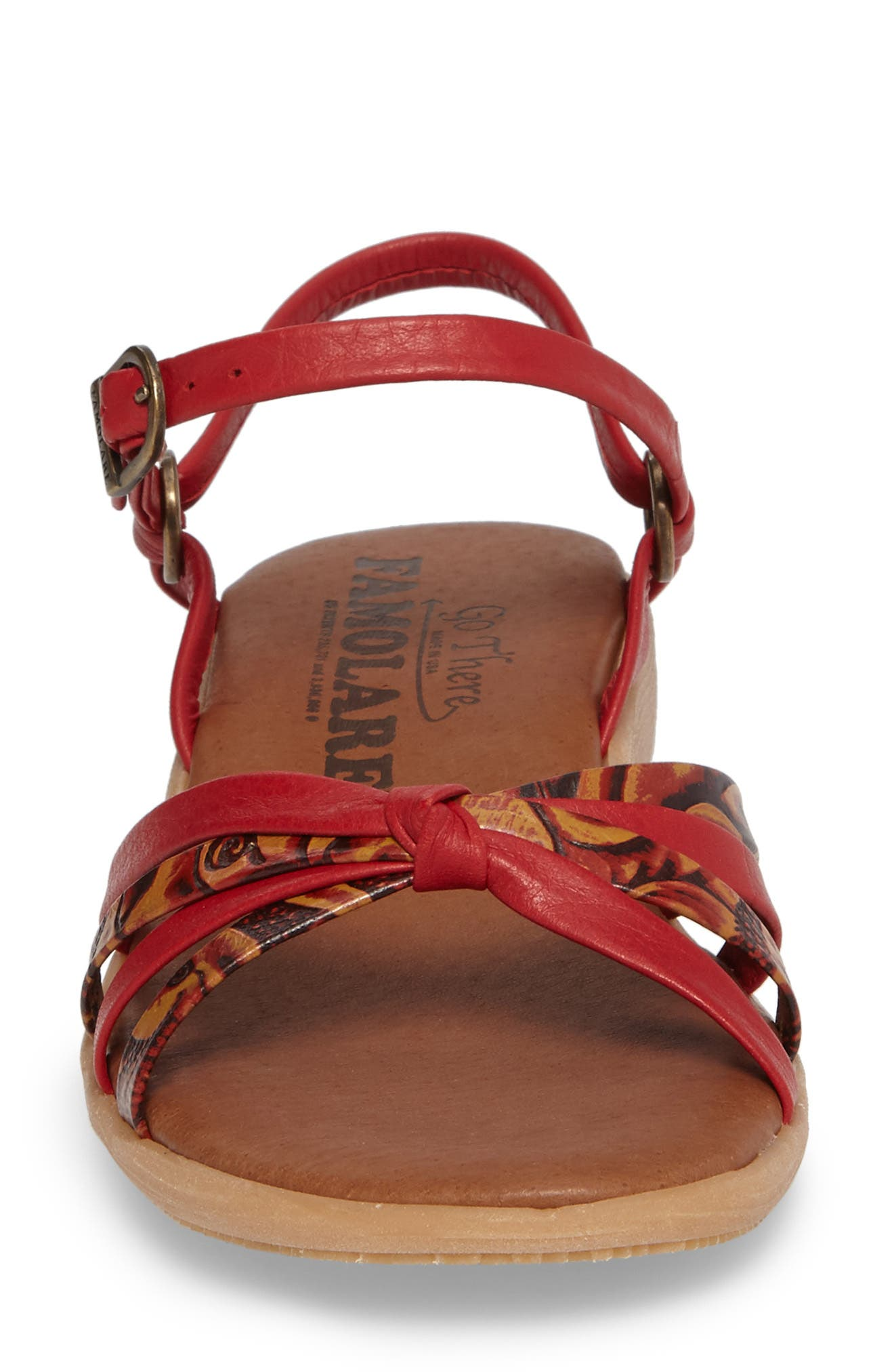 Strap Music Knotted Sandal,                             Alternate thumbnail 4, color,                             MULTI CORAL LEATHER