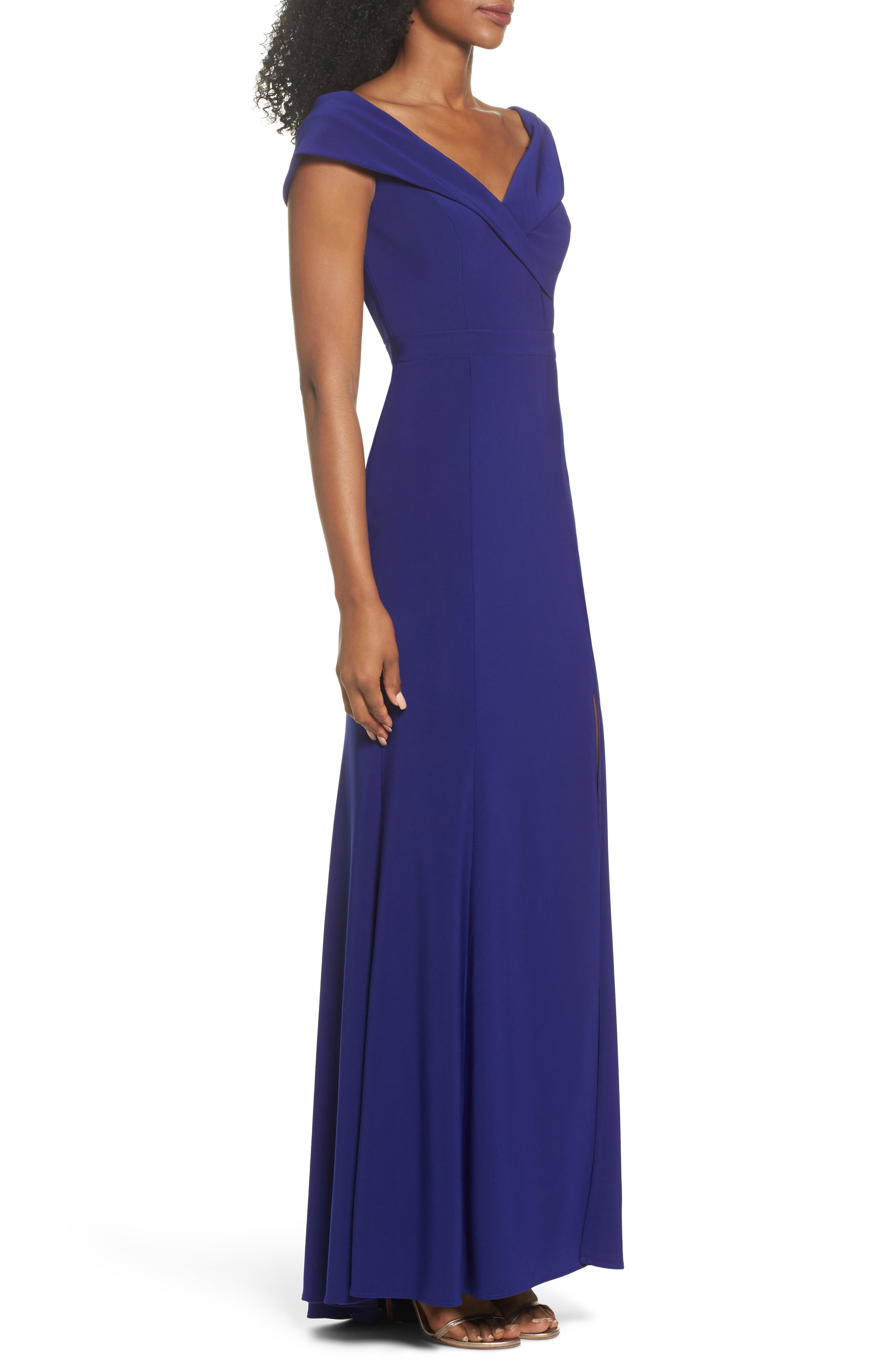 Off the Shoulder Gown,                             Alternate thumbnail 3, color,                             ELECTRIC BLUE