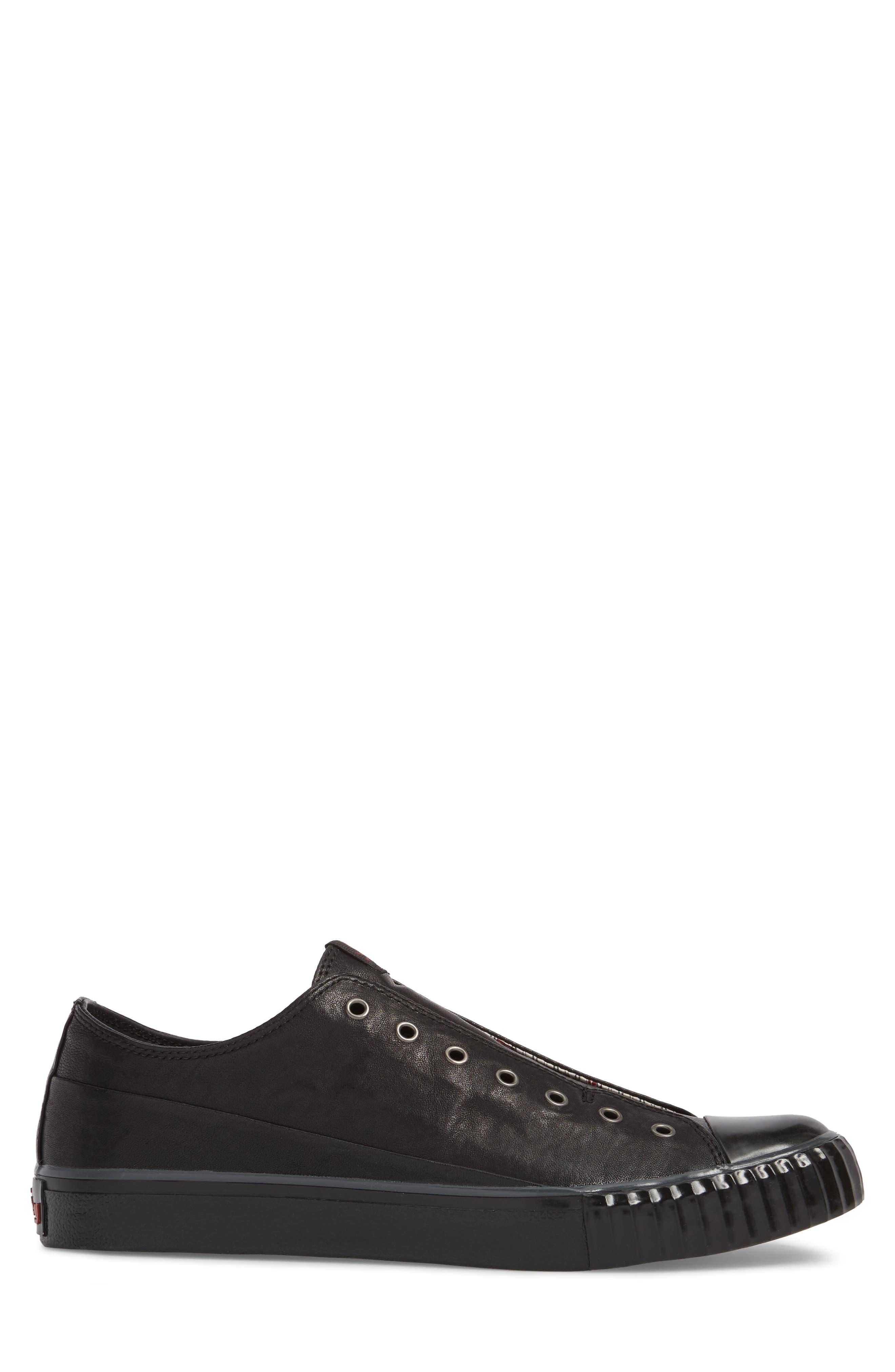 John Varvatos Star USA Bootleg Laceless Low Top Sneaker,                             Alternate thumbnail 3, color,                             BLACK LEATHER