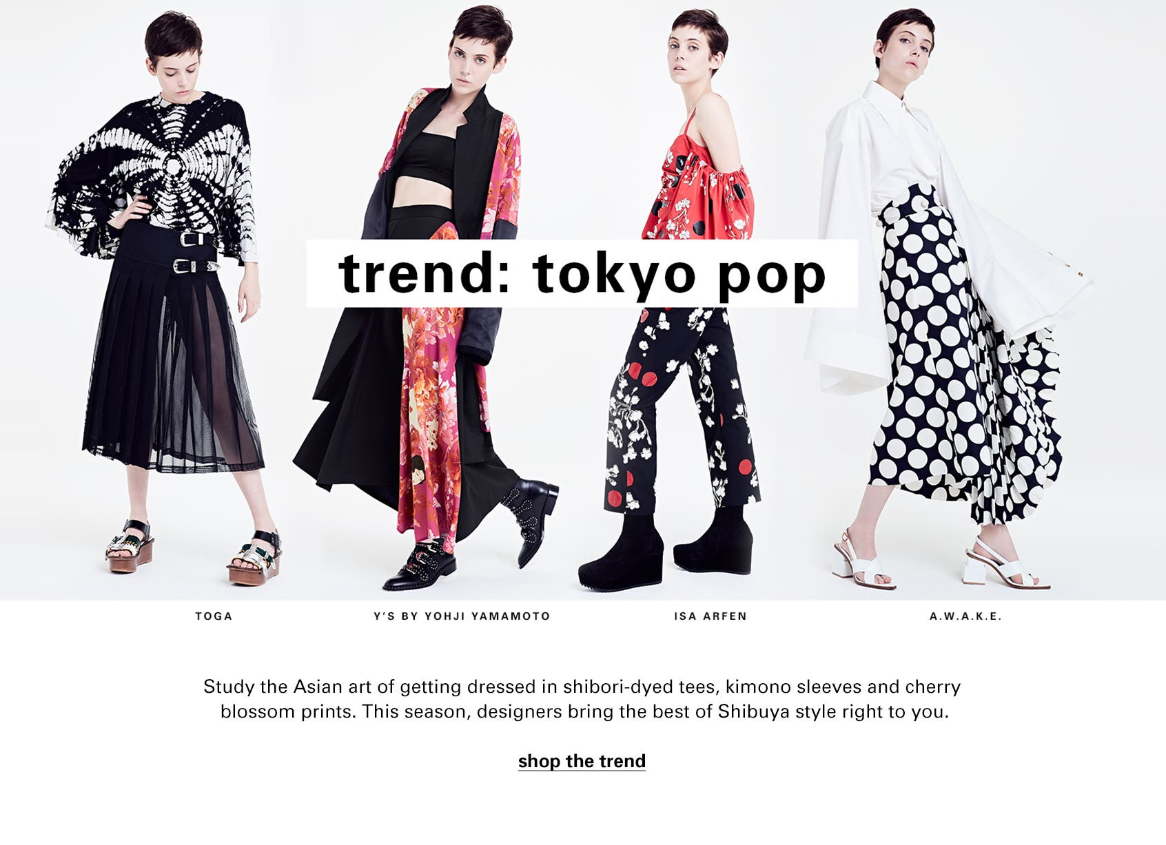 Designers bring the Tokyo Pop trend to Nordstrom SPACE with kimono sleeves, cherry blossom prints and more.