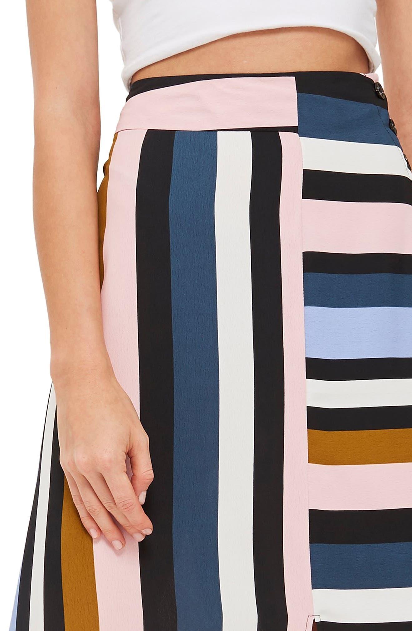 Multi Stripe Asymmetric Midi Skirt,                             Alternate thumbnail 4, color,                             BLACK MULTI