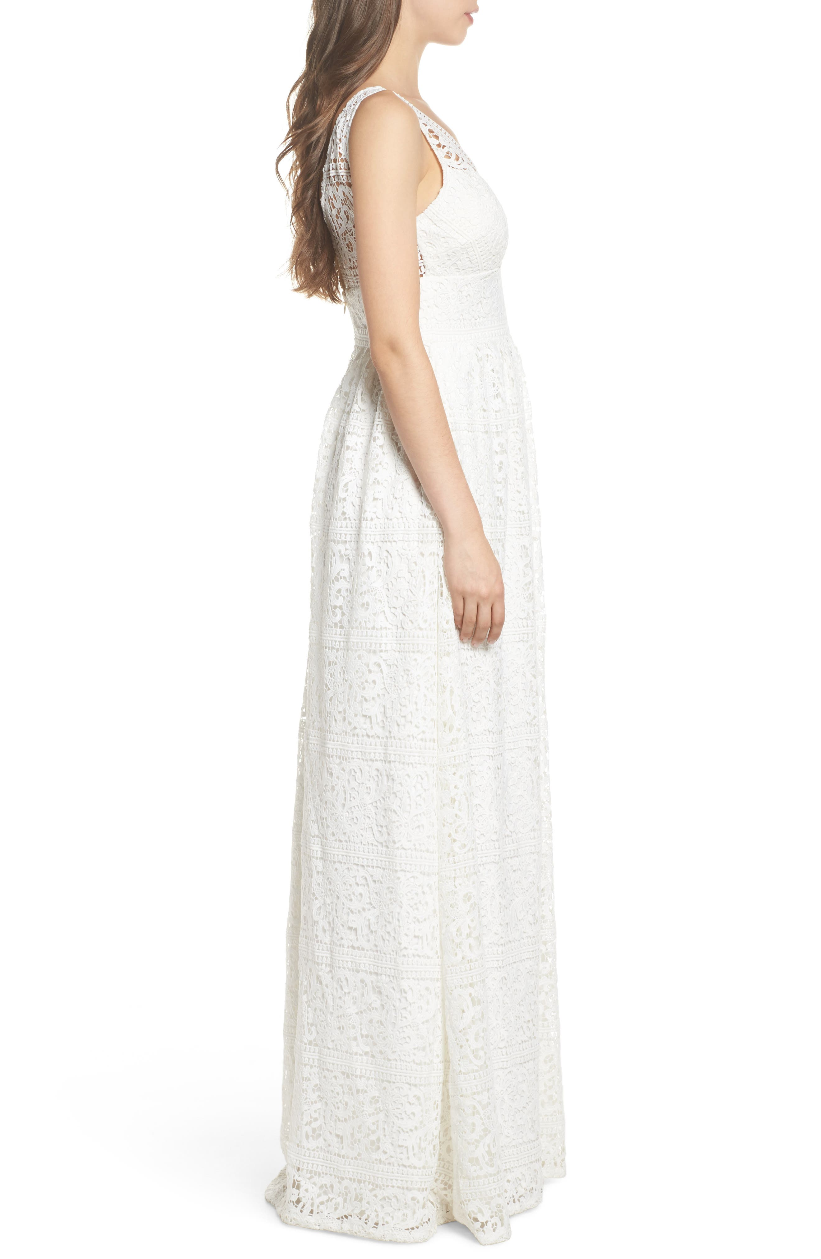Stripe Lace A-Line Gown,                             Alternate thumbnail 3, color,