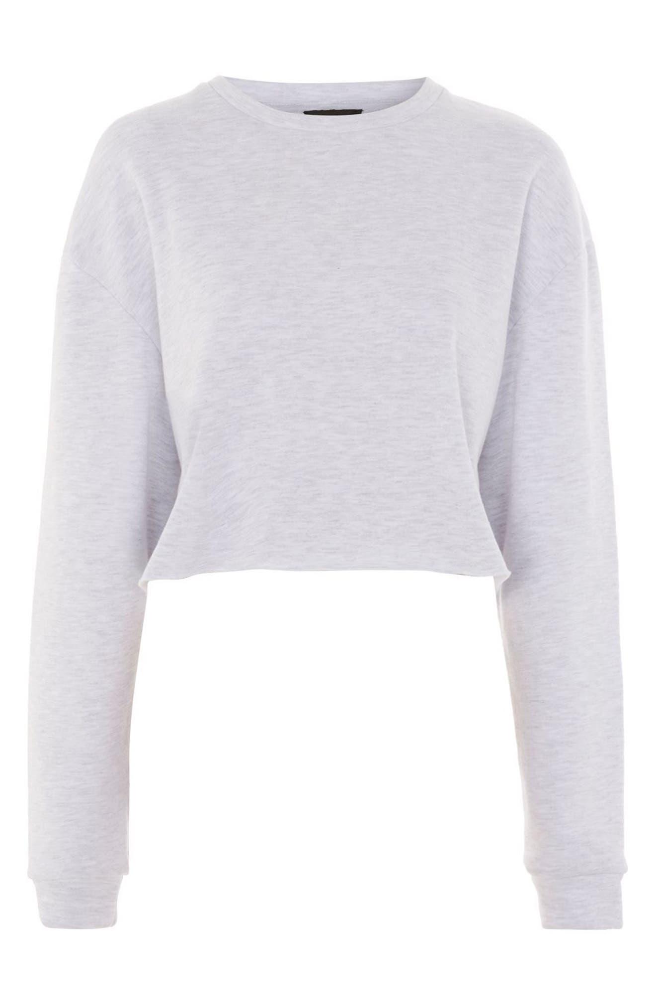 Crop Sweatshirt,                             Alternate thumbnail 3, color,                             GREY MARL