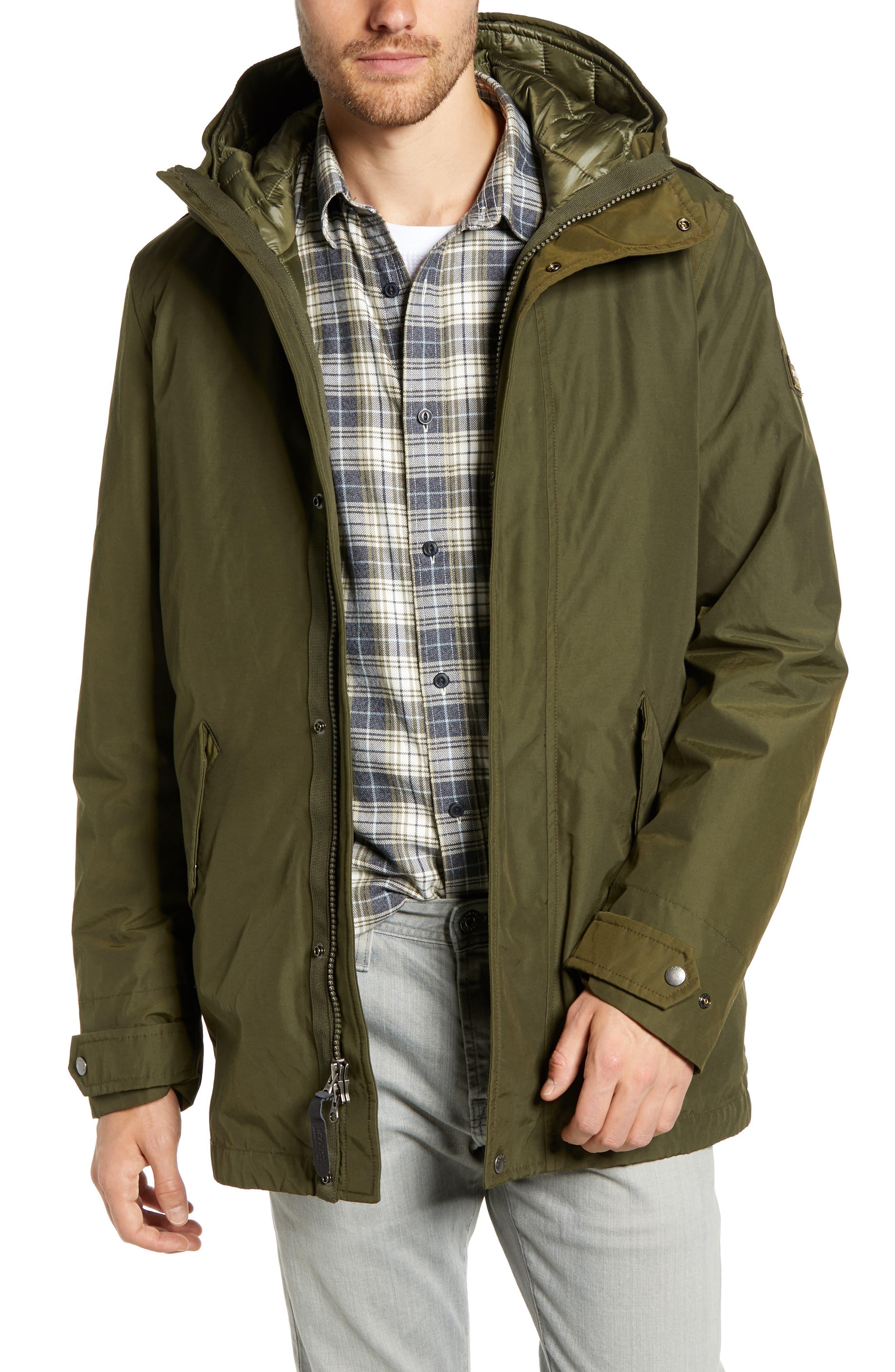 John Rich 'Long Military Eskimo' 3-in-1 Hooded Jacket,                             Main thumbnail 1, color,                             FLINT OLIVE