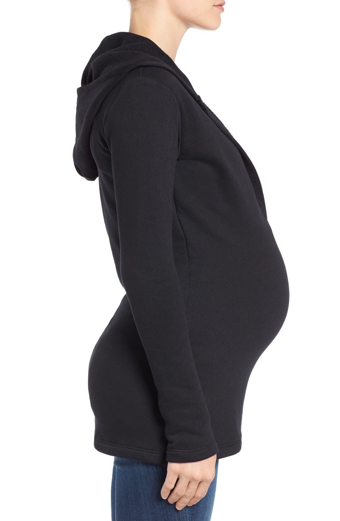 'Riley' Maternity/Nursing Top,                             Alternate thumbnail 3, color,                             BLACK