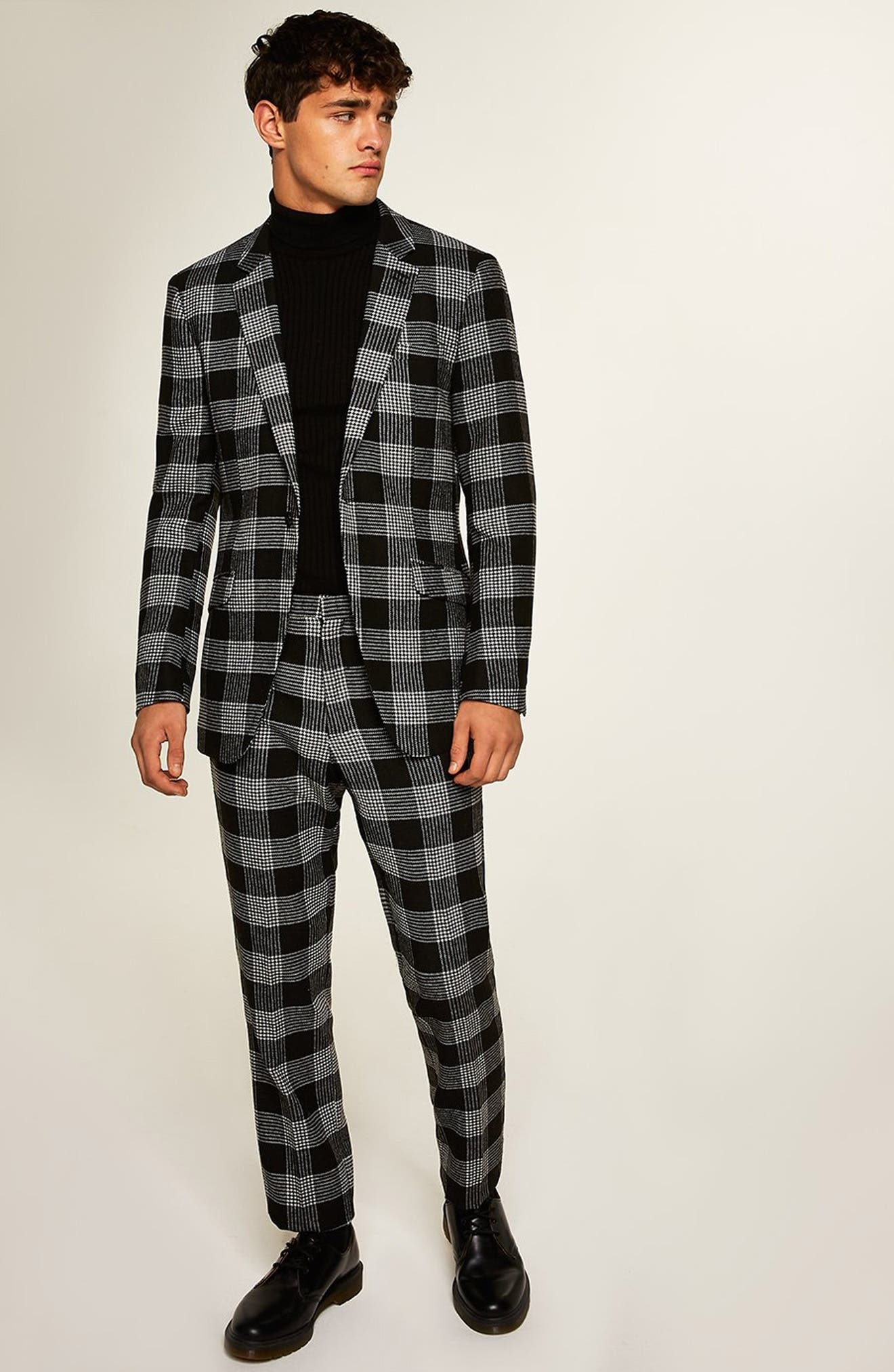 Leigh Classic Check Slim Fit Blazer,                             Alternate thumbnail 5, color,                             BLACK MULTI