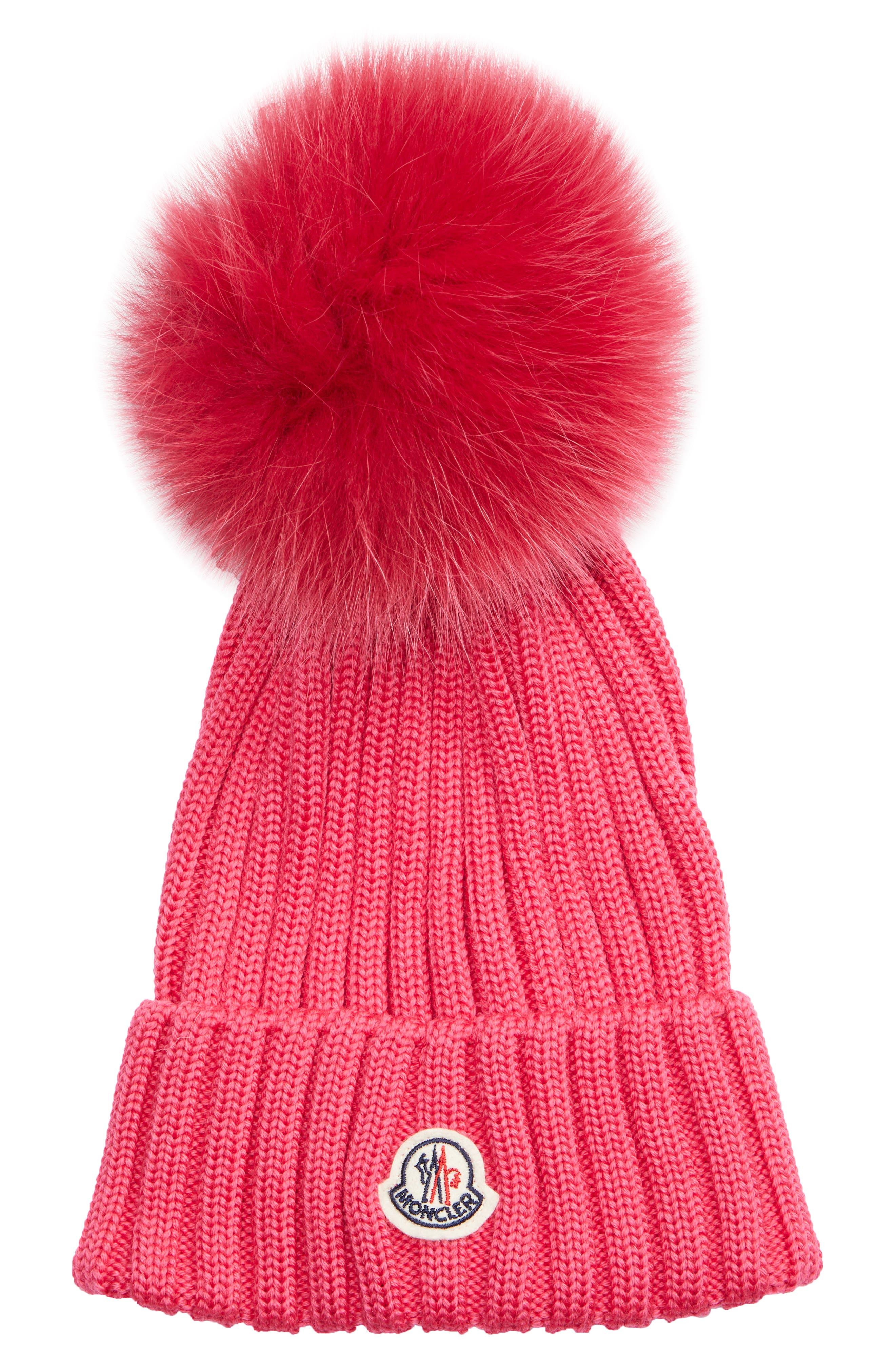 Genuine Fox Fur Pom Wool Beanie,                             Main thumbnail 1, color,                             FUSCHIA