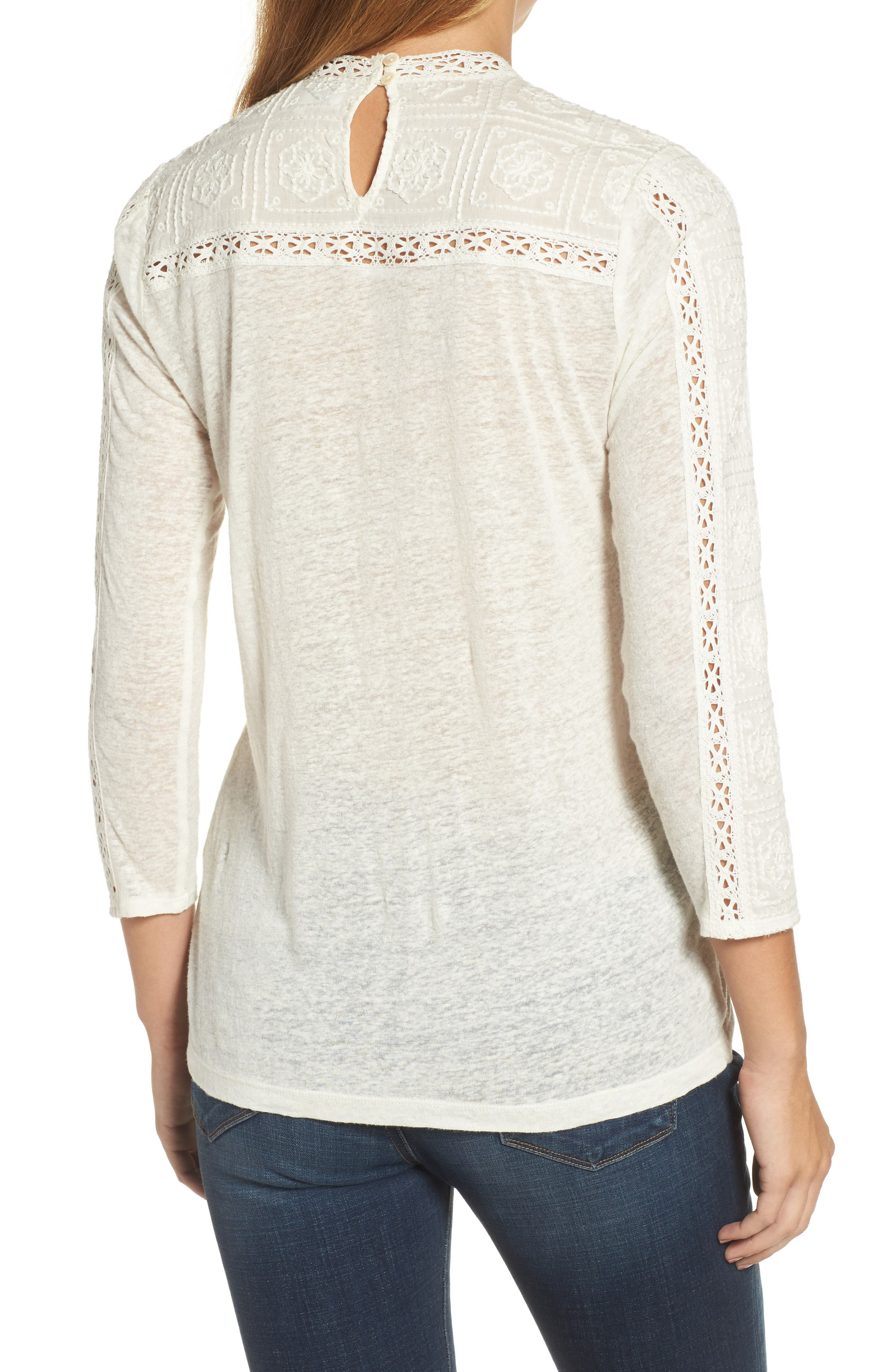 Embroidered Eyelet Trim Top,                             Alternate thumbnail 2, color,                             900