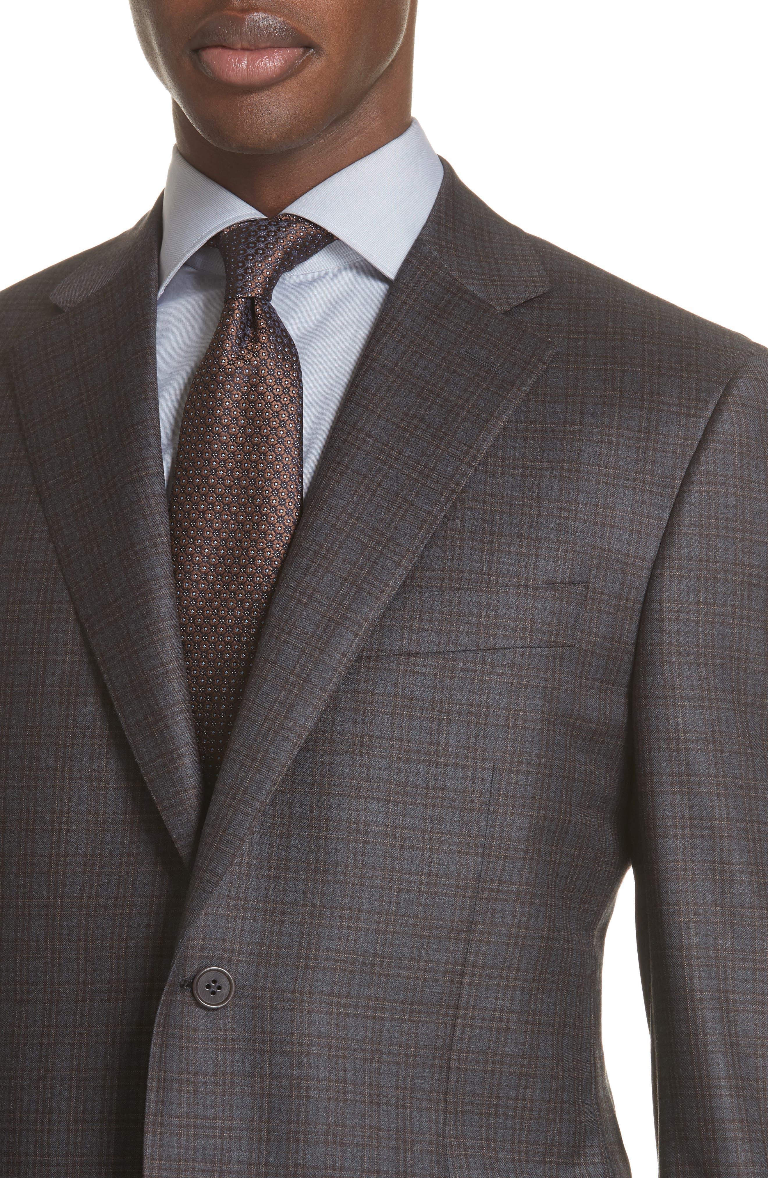 Classic Fit Plaid Wool Sport Coat,                             Alternate thumbnail 4, color,                             GREY/ BROWN