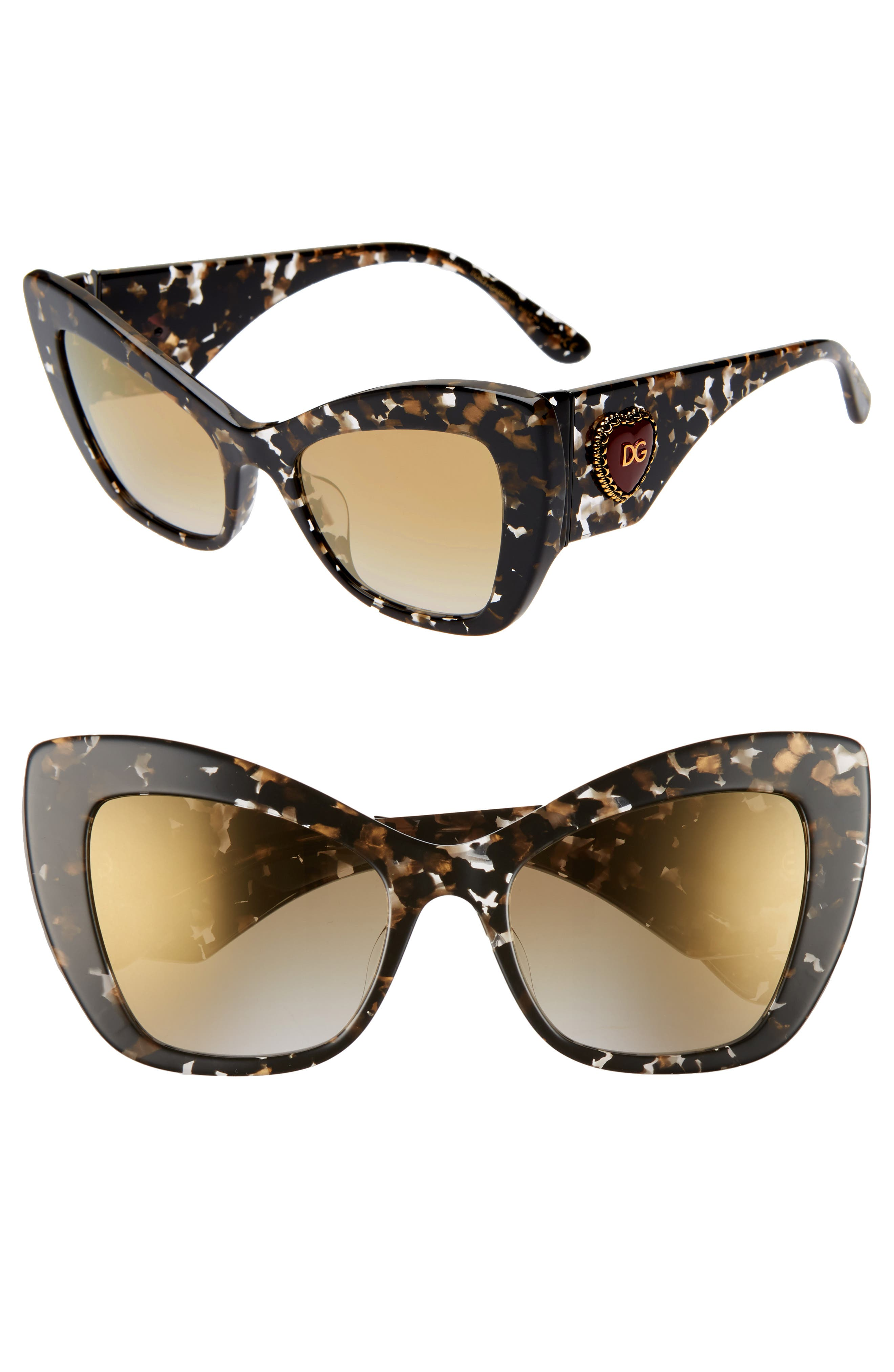 DOLCE&GABBANA Sacred Heart 54mm Gradient Cat Eye Sunglasses, Main, color, BLACK GOLD GRADIENT MIRROR