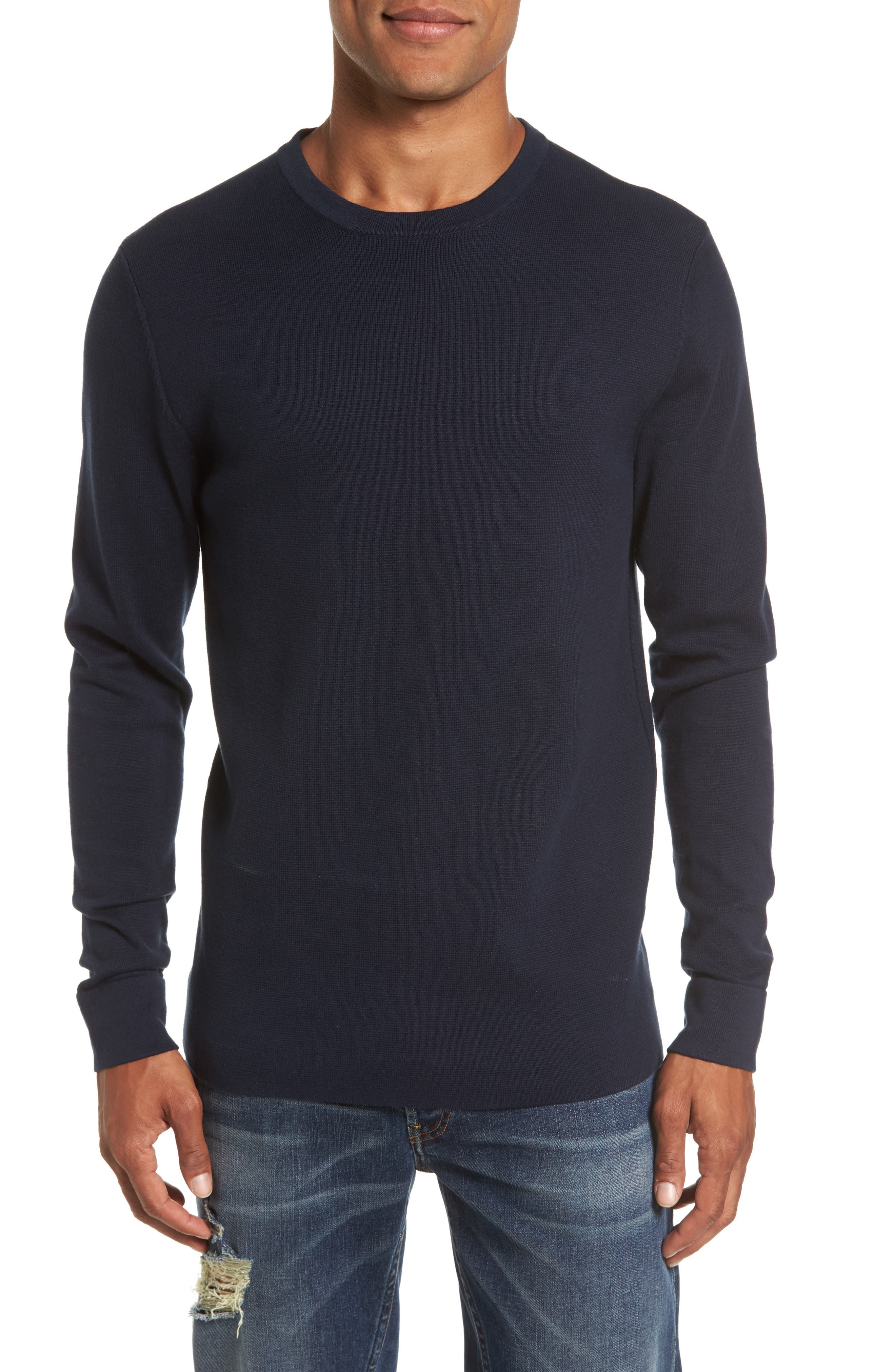 FRENCH CONNECTION,                             Milano Front Regular Fit Cotton Sweater,                             Main thumbnail 1, color,                             MARINE BLUE
