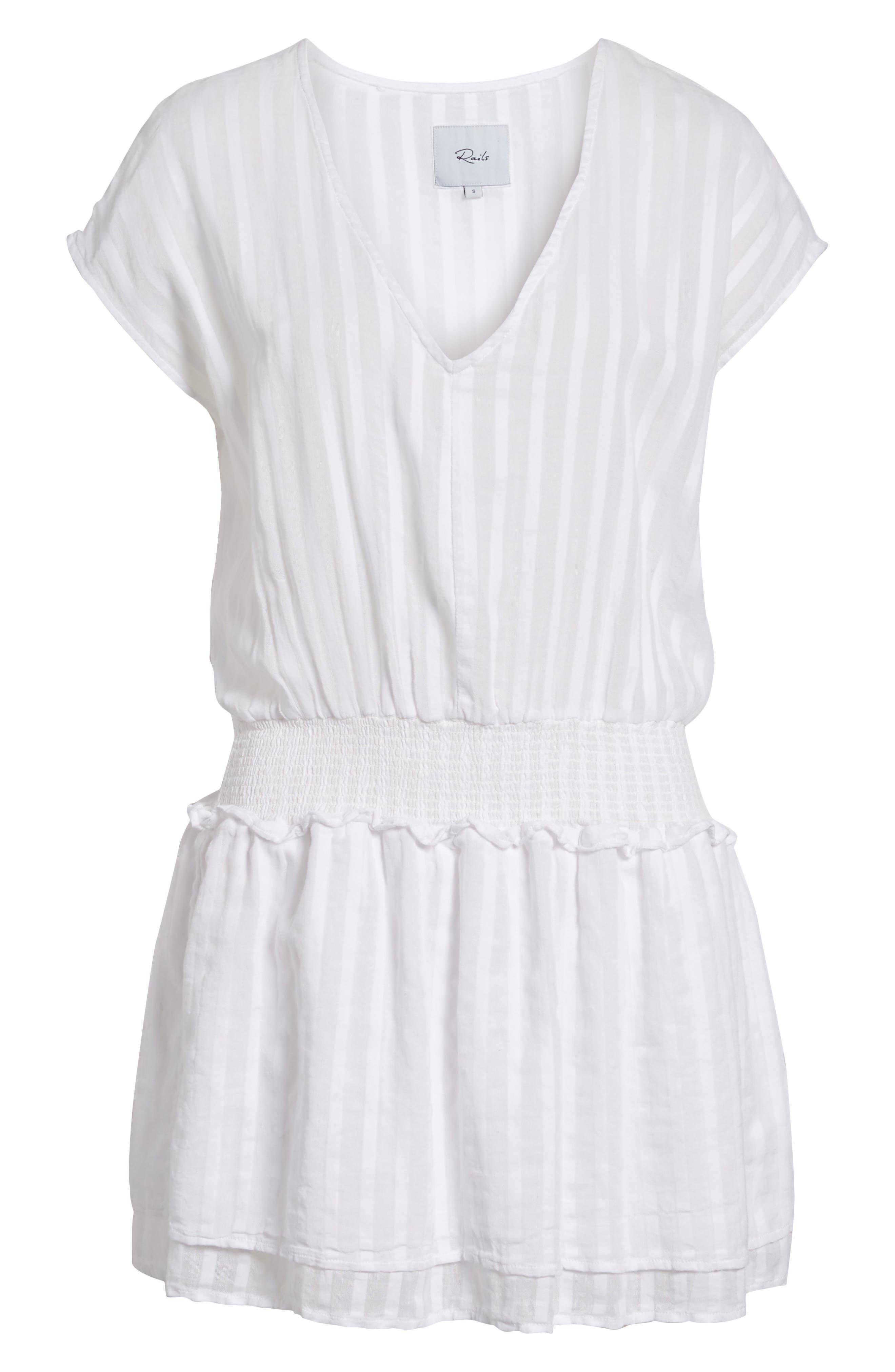 Lucca Blouson Cotton Dress,                             Alternate thumbnail 7, color,                             WHITE SHADOW STRIPE