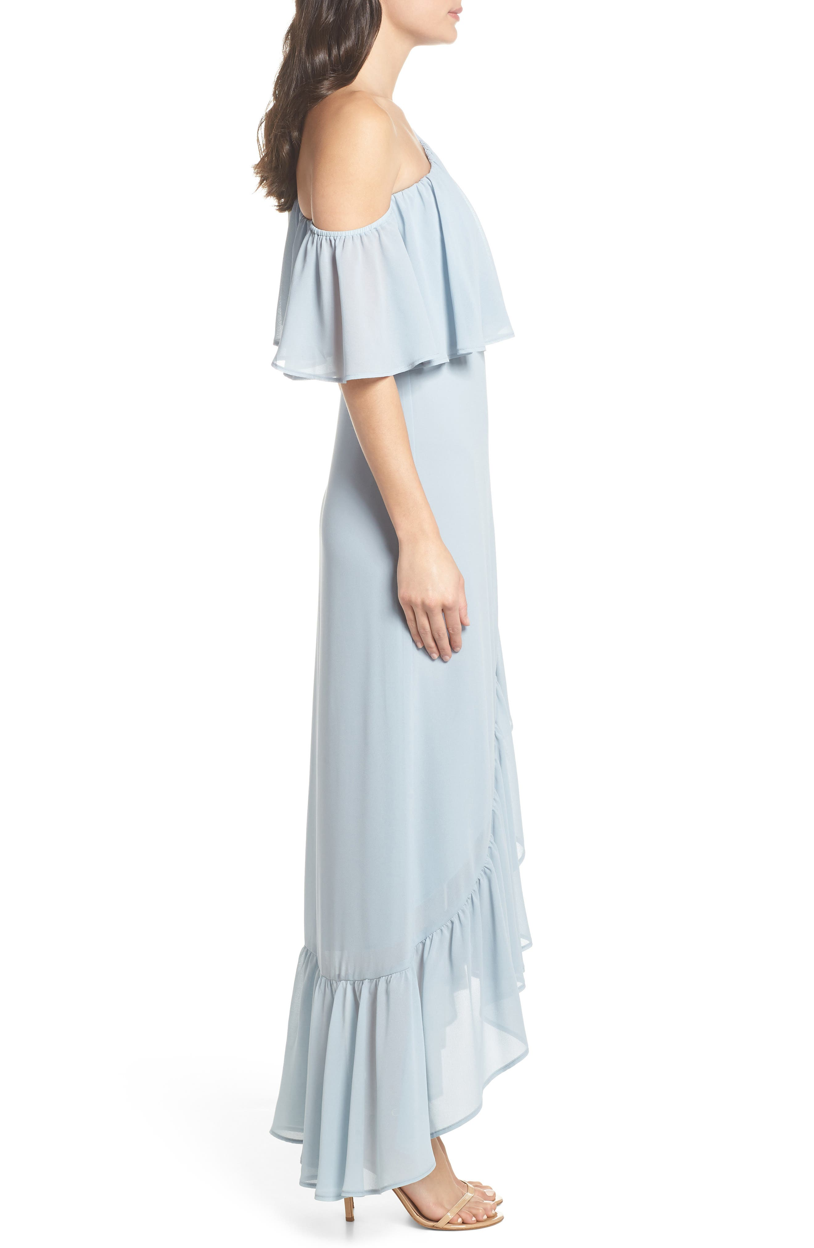 Tango Ruffle Gown,                             Alternate thumbnail 3, color,                             STEEL BLUE CHIFFON