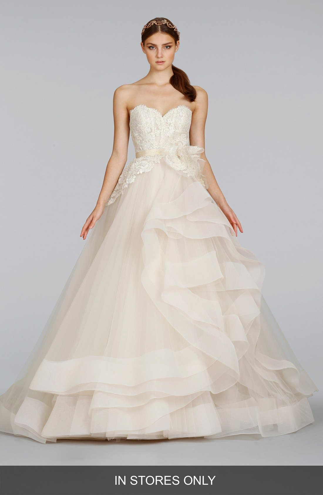 Strapless Lace & Layered Tulle Ballgown,                             Main thumbnail 1, color,                             IVORY/GOLD/CHAMPAGNE