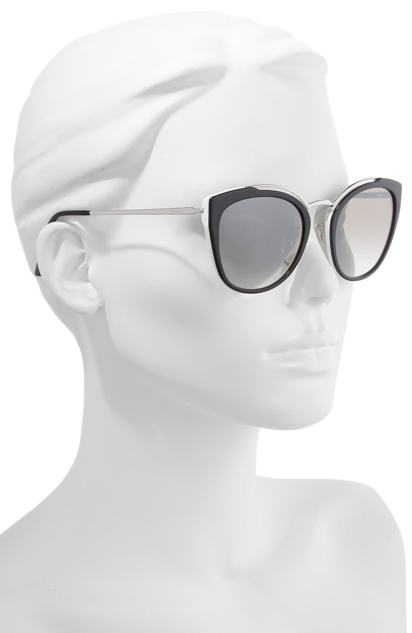 PRADA,                             54mm Gradient Cat Eye Sunglasses,                             Alternate thumbnail 2, color,                             BLACK/ SILVER GRADIENT MIRROR
