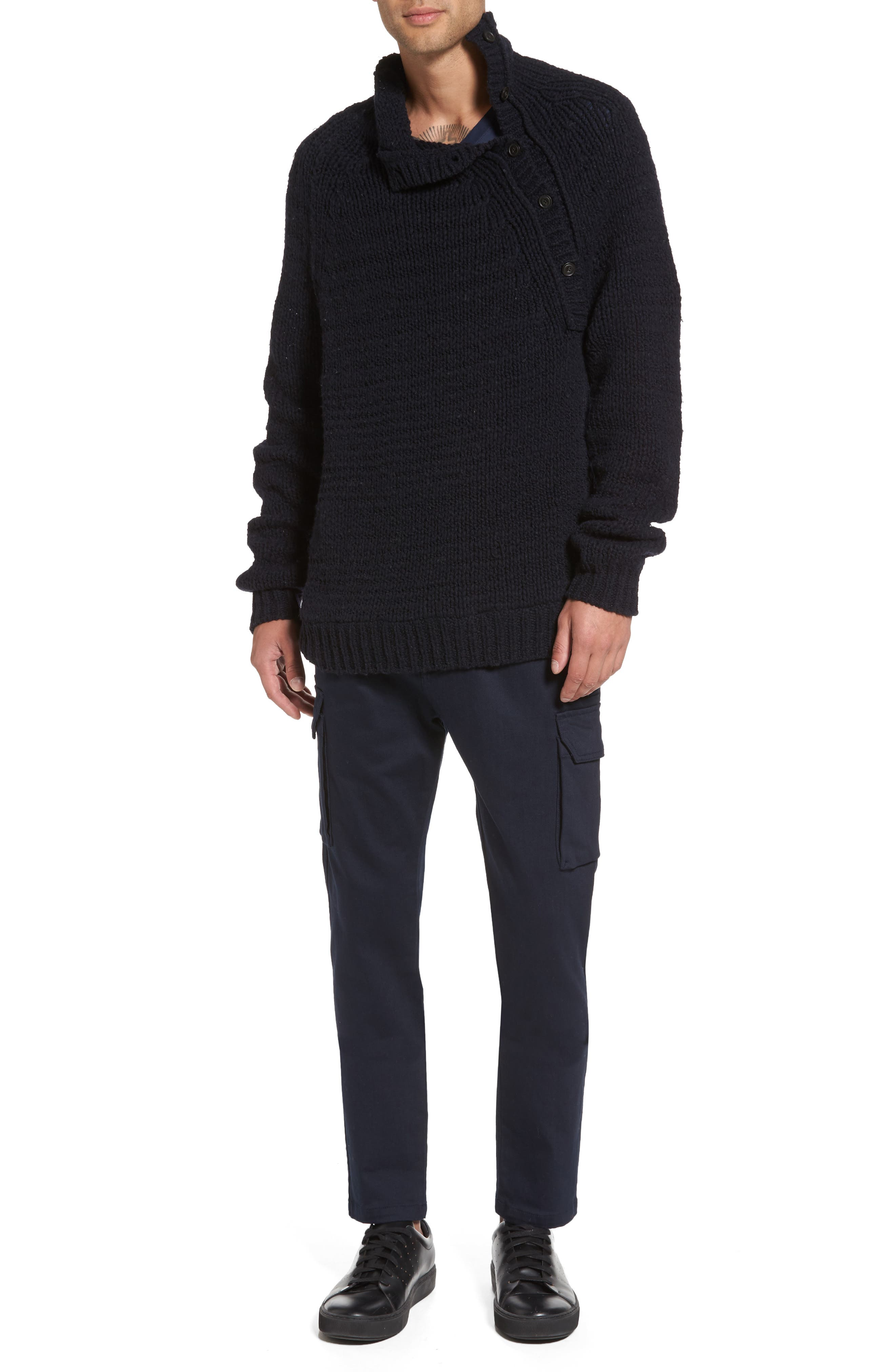 Side Button Mock Neck Sweater,                             Alternate thumbnail 7, color,                             403