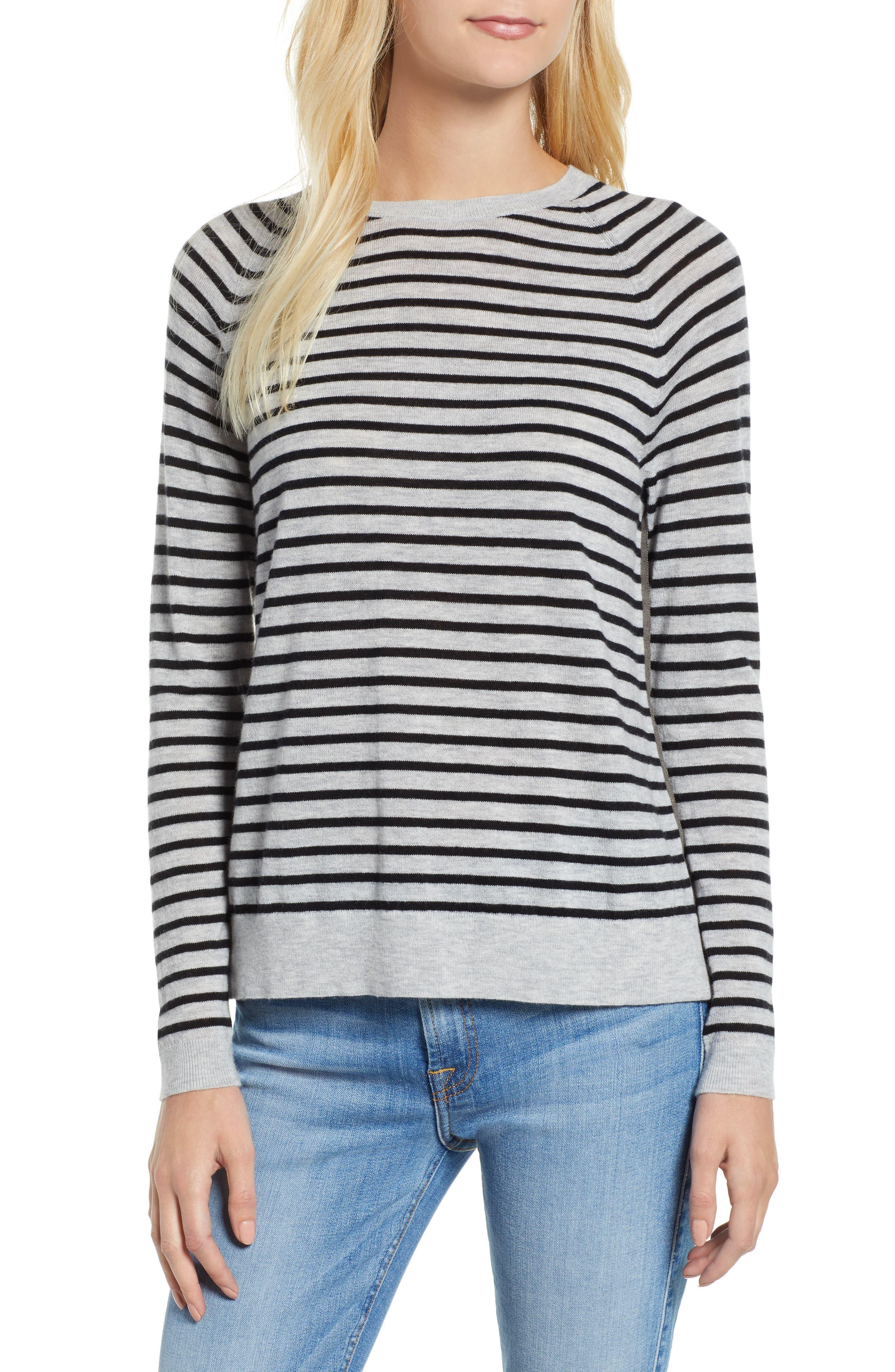 Stripe Zip Back Crewneck Sweater,                             Main thumbnail 1, color,                             059