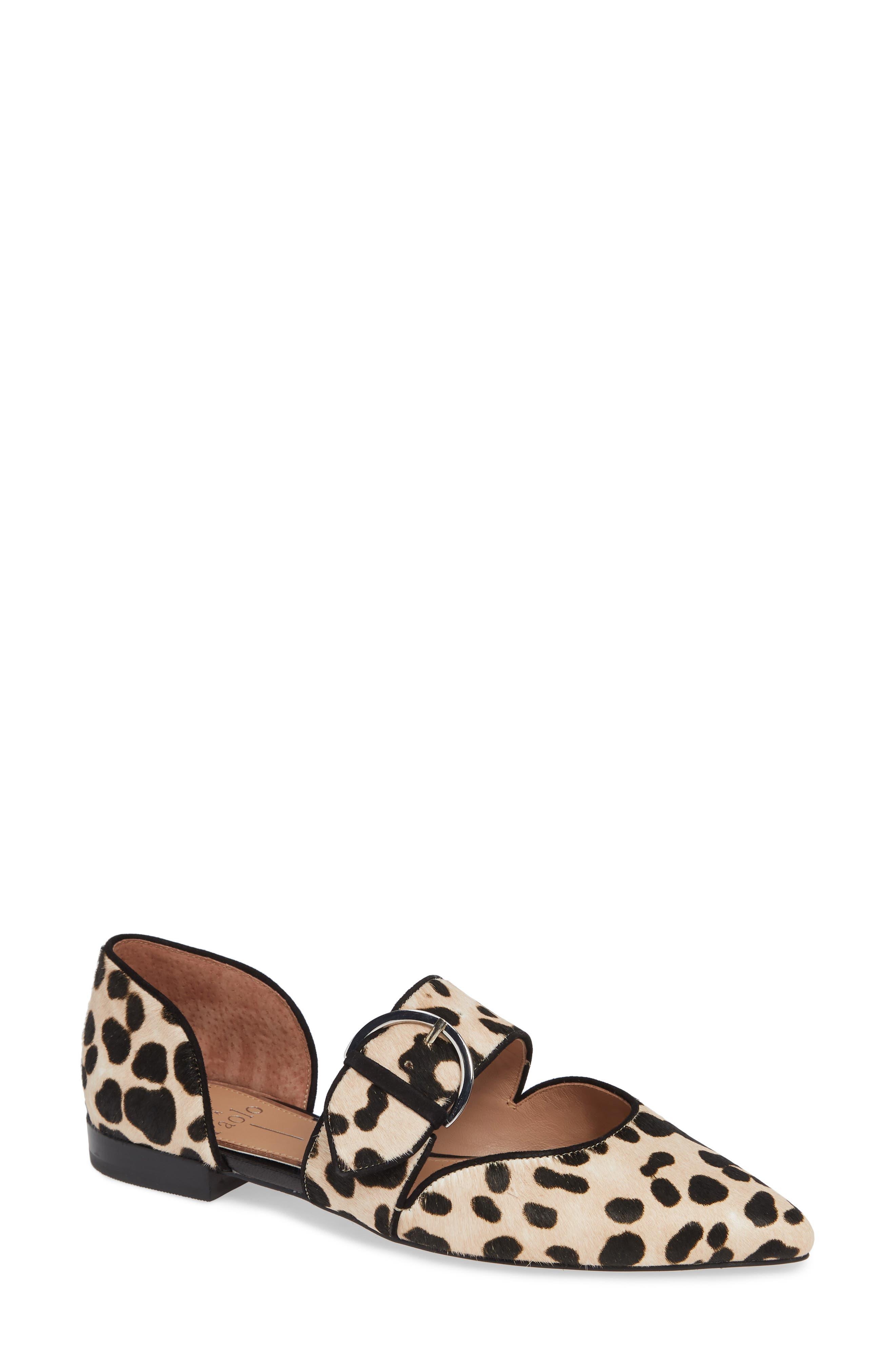 Dean Pointy Toe Flat,                         Main,                         color, WHITE/ BLACK PRINT HAIRCALF