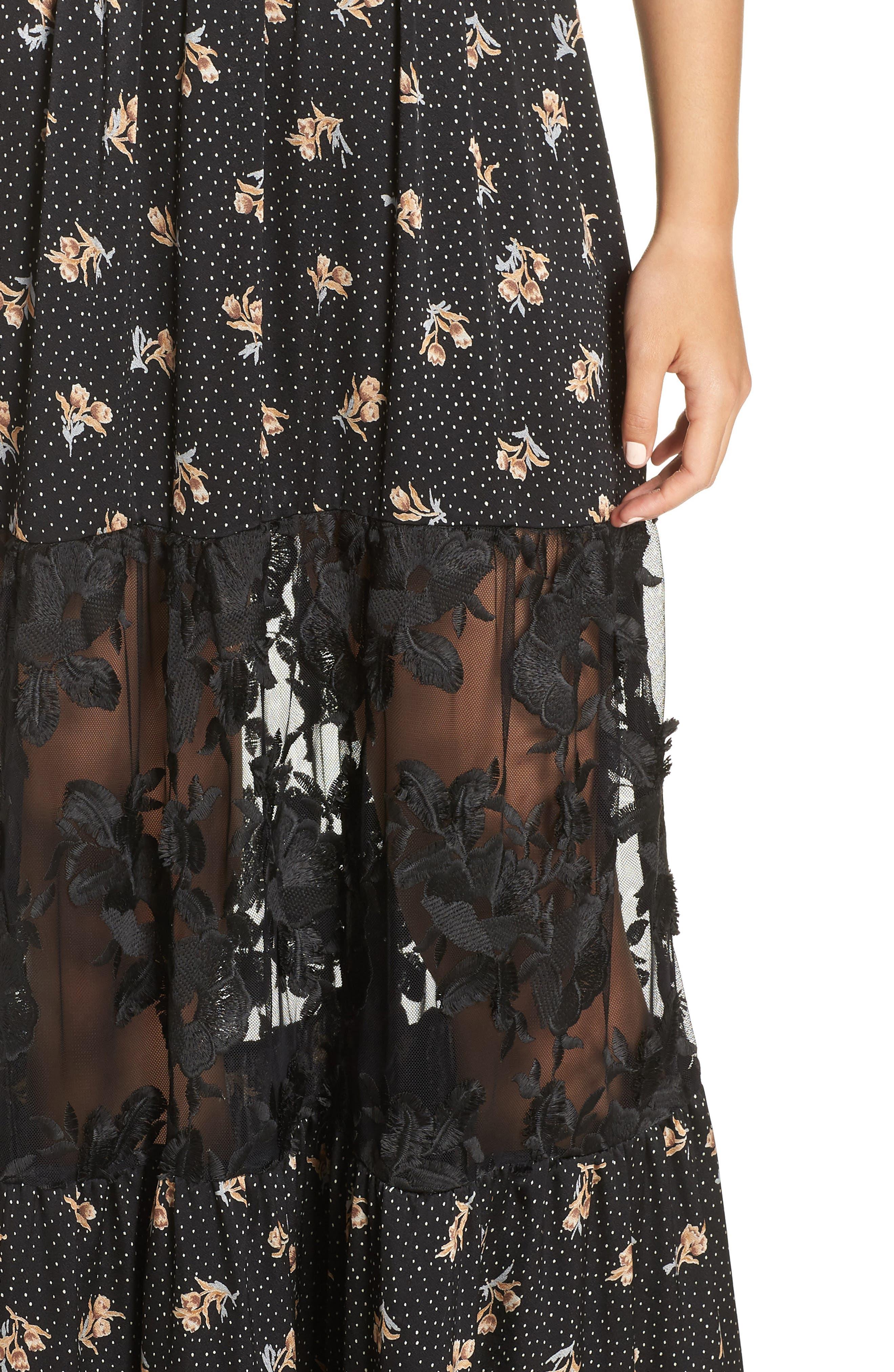 Lace Panel Maxi Dress,                             Alternate thumbnail 4, color,                             BLACK FLORAL