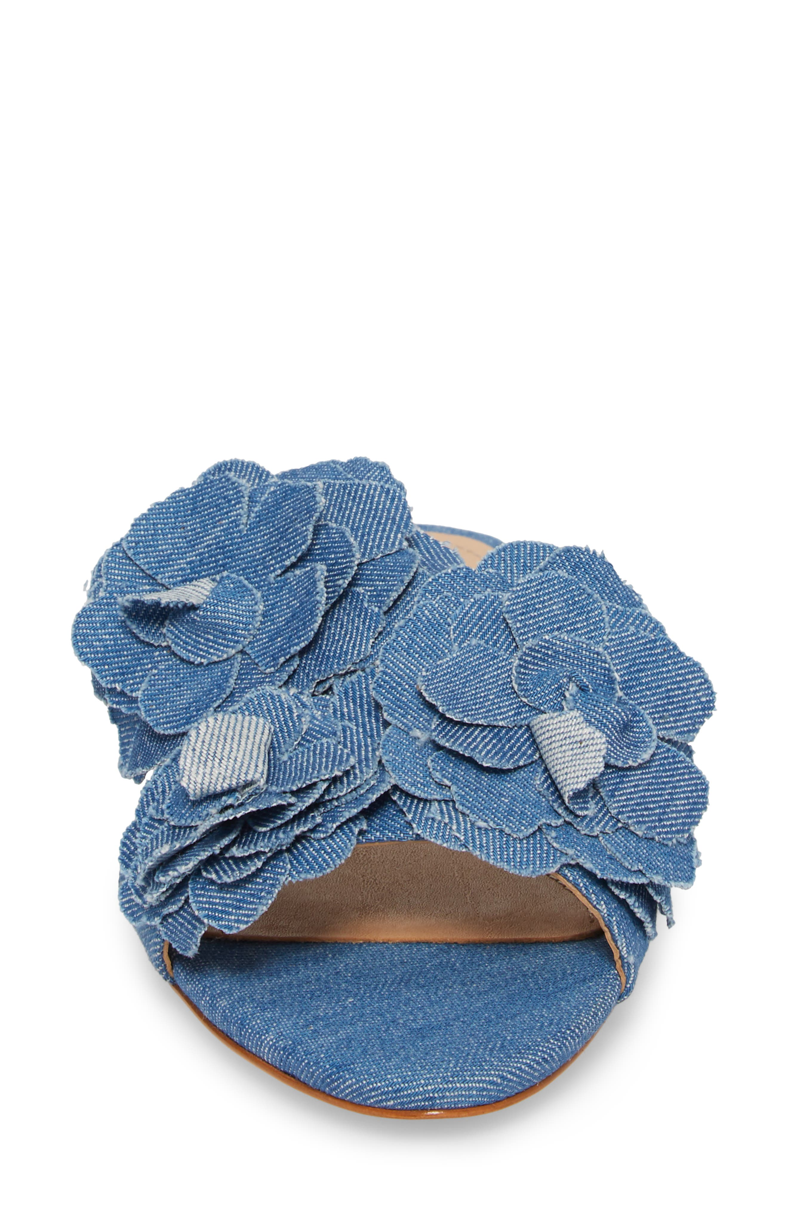Ilaria Flower Sandal,                             Alternate thumbnail 4, color,                             LIGHT BLUE