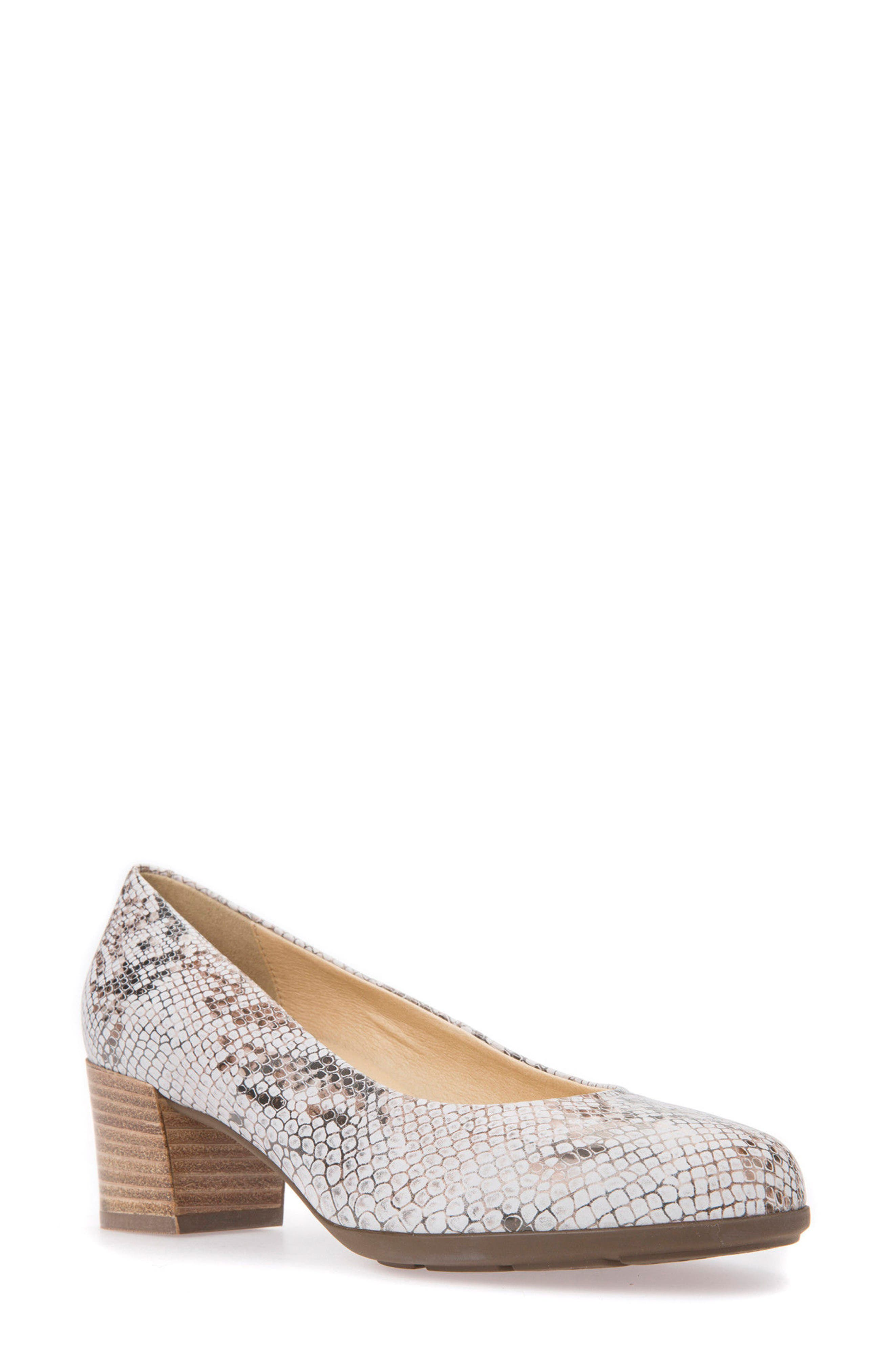 GEOX Annya Pump, Main, color, OFF WHITE SNAKE PRINT