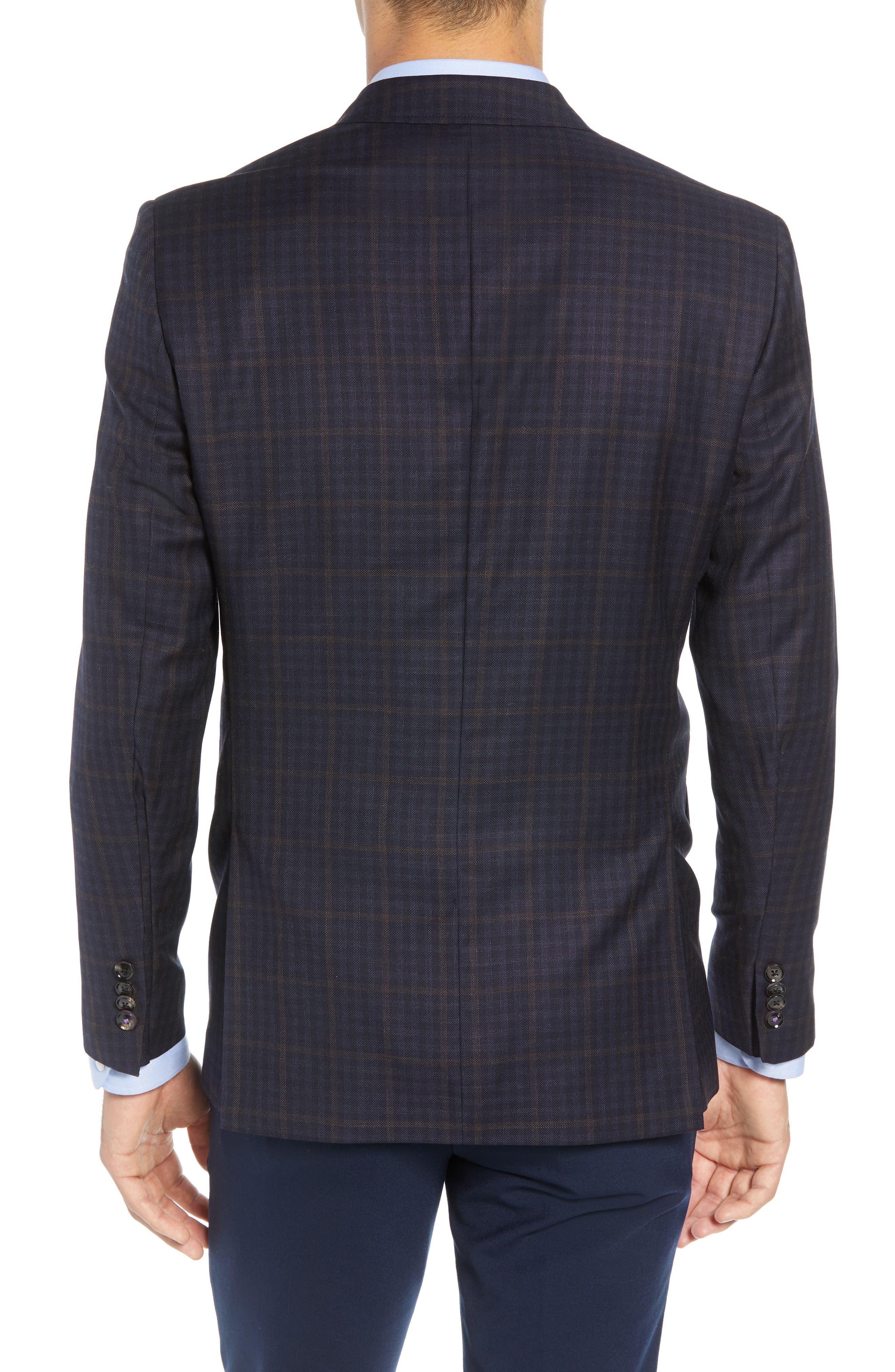Jay Trim Fit Plaid Wool Sport Coat,                             Alternate thumbnail 2, color,                             NAVY