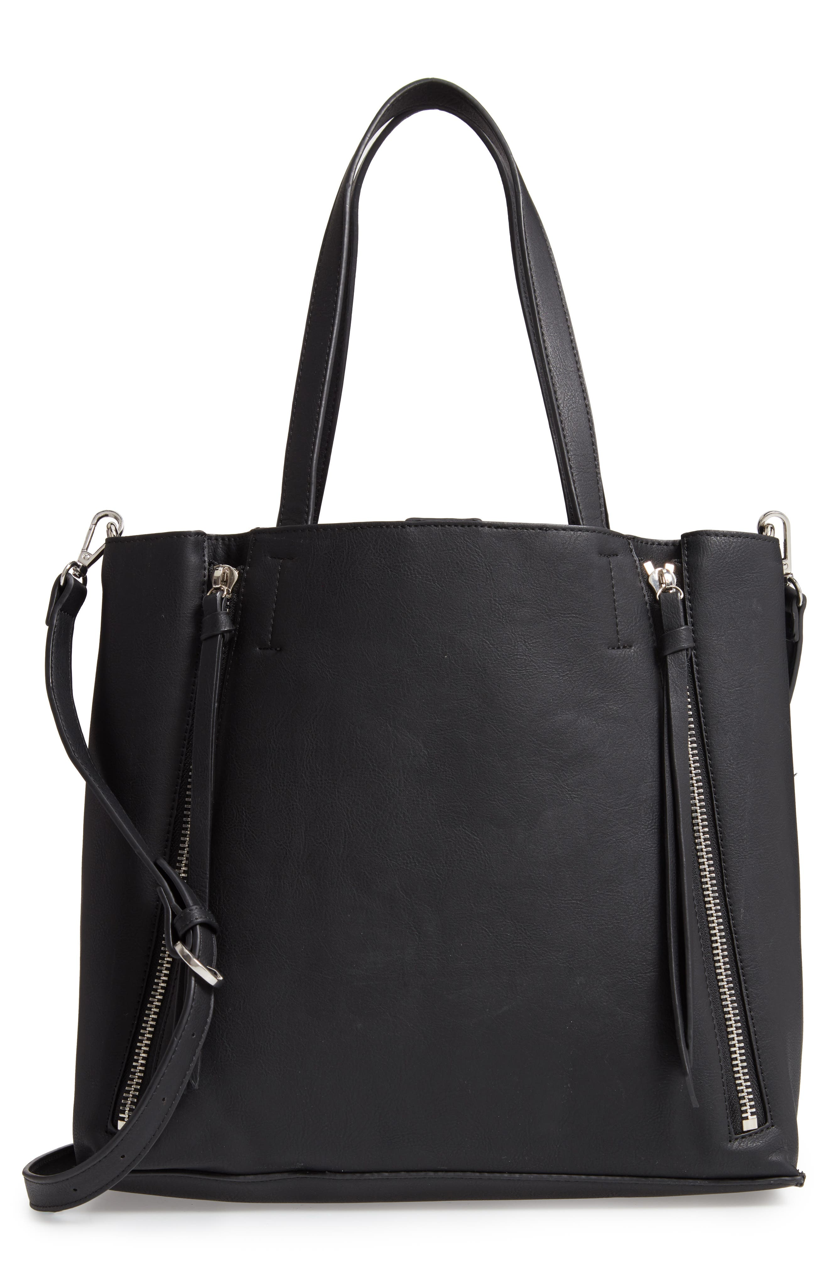 Leigh Convertible Zipper Faux Leather Tote, Main, color, 001