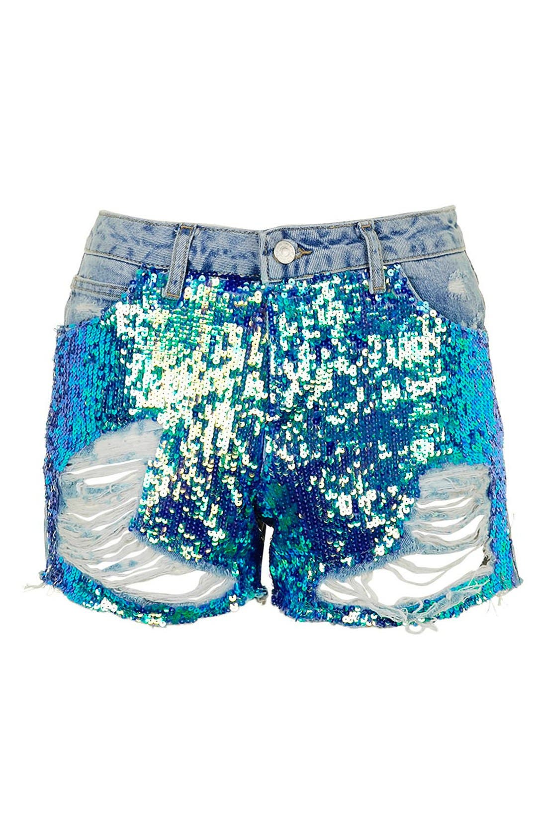 'Ashley' Sequin Cutoff Denim Shorts,                             Alternate thumbnail 2, color,                             400