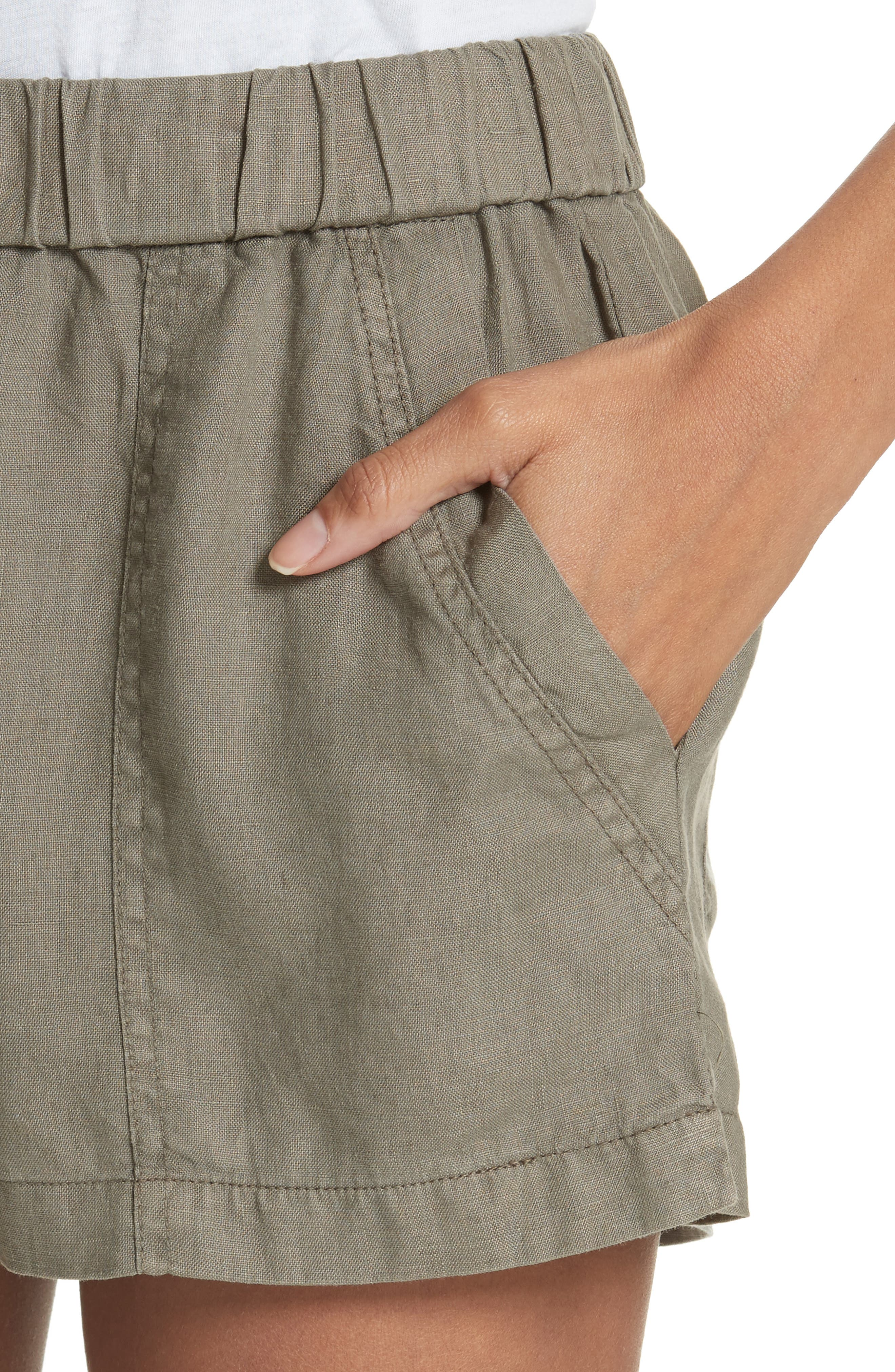 Fosette Linen Drawstring Shorts,                             Alternate thumbnail 7, color,