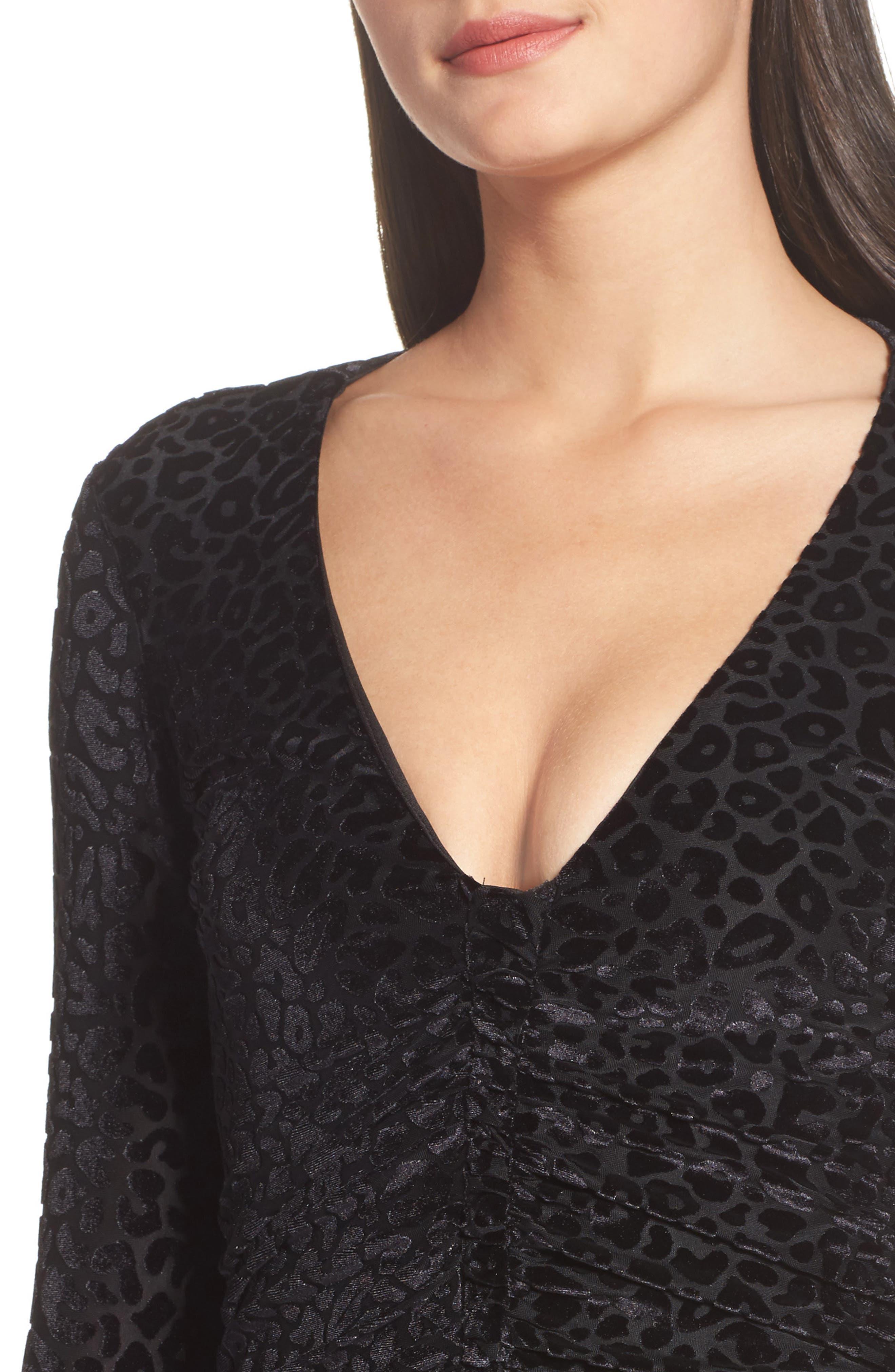 Leopard Velvet Mesh Body-Con Dress,                             Alternate thumbnail 4, color,                             001