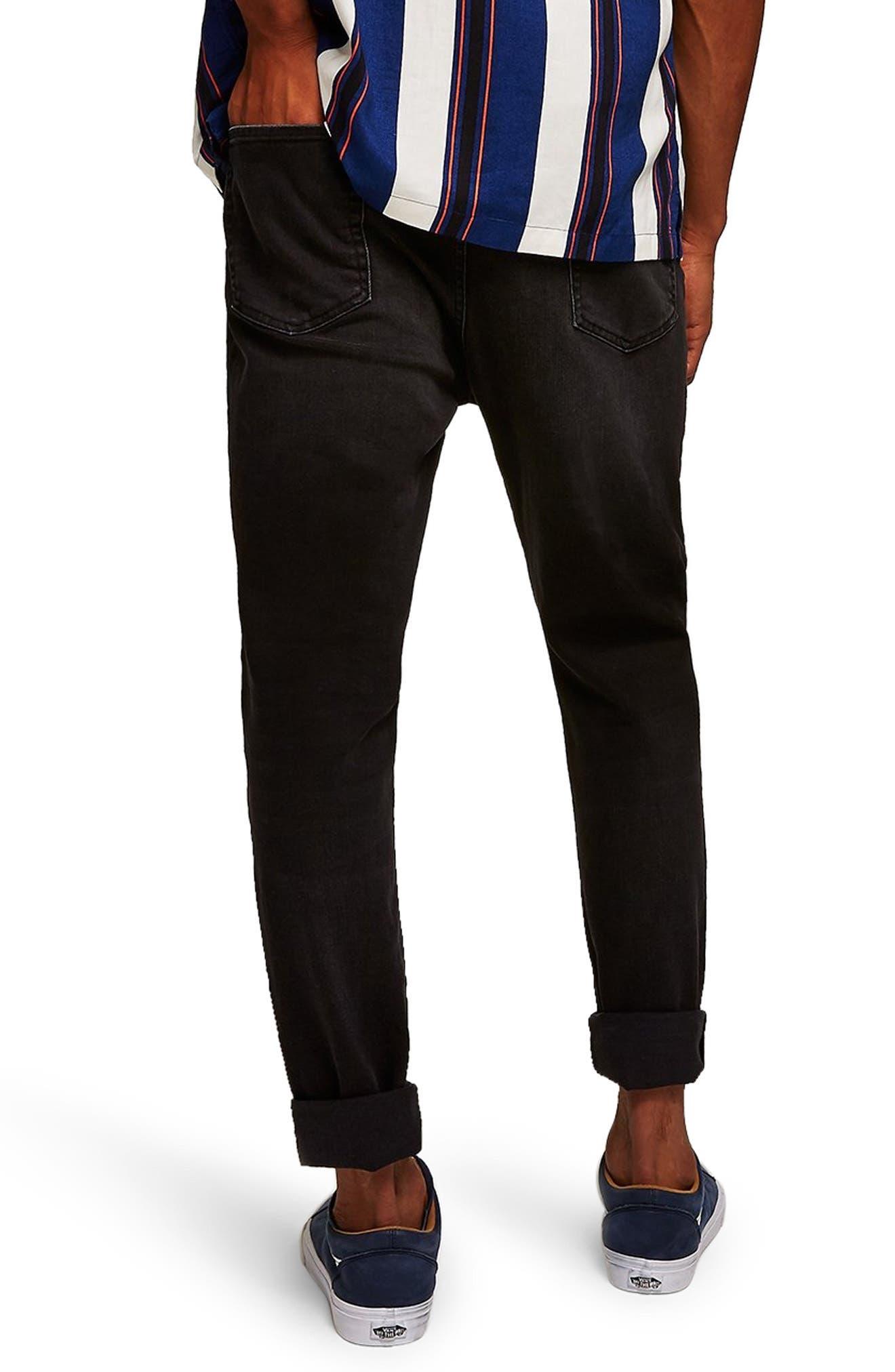 Topshop Jogger Skinny Jeans,                             Alternate thumbnail 2, color,                             BLACK