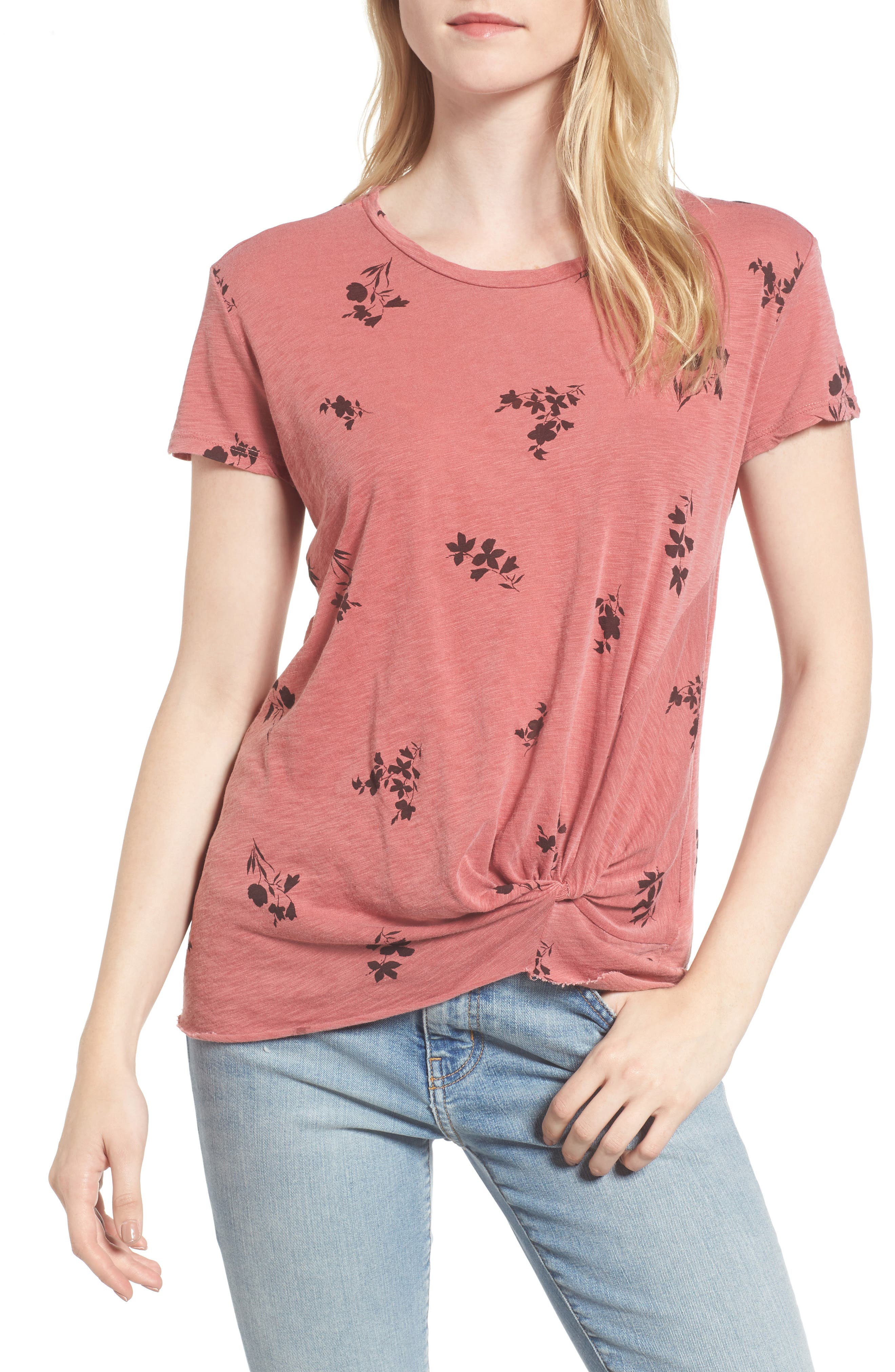 Wine Floral Twist Front Tee,                         Main,                         color, 616