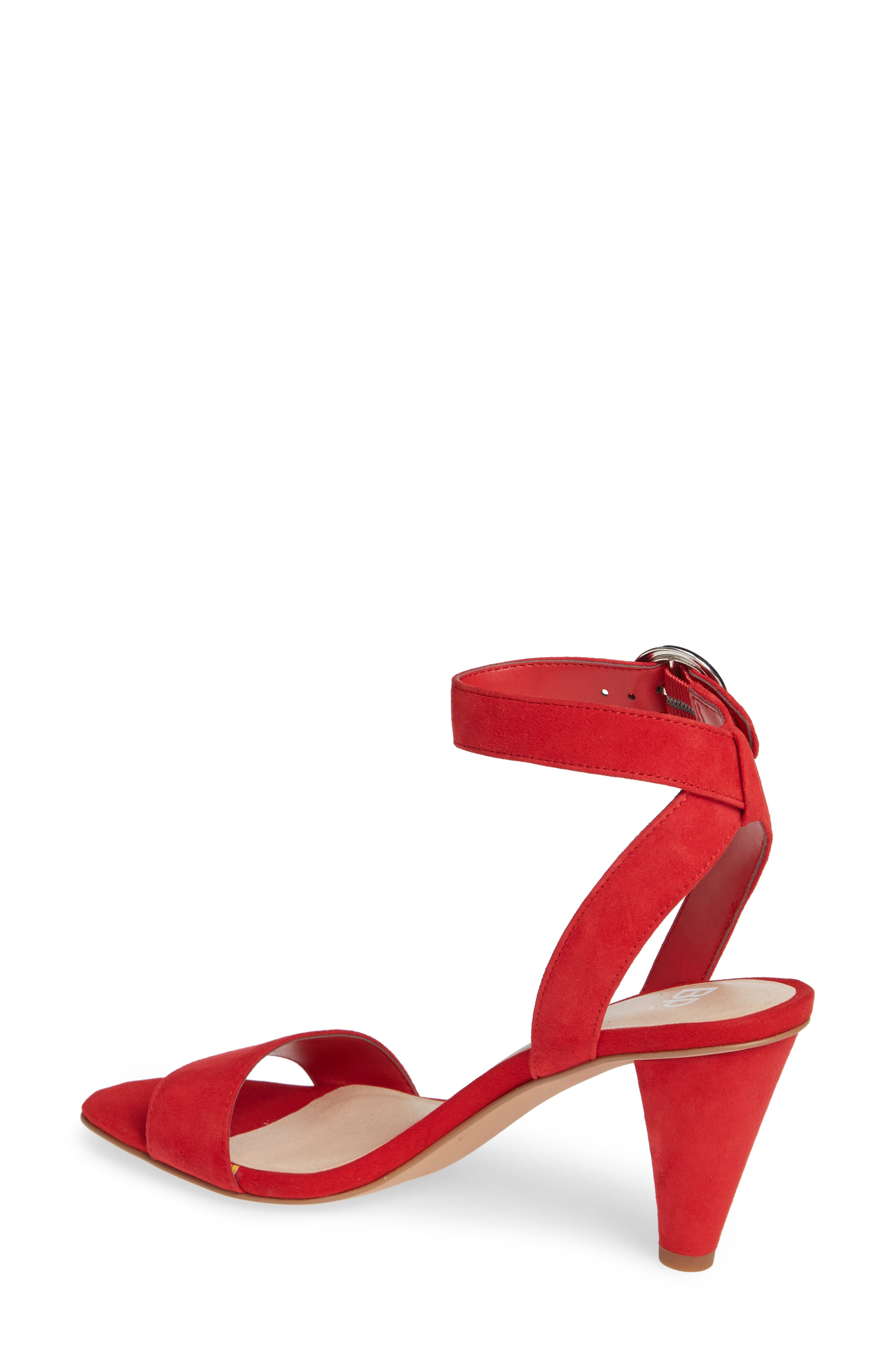 Cleo Cone Heel Sandal,                             Alternate thumbnail 2, color,                             RED SUEDE
