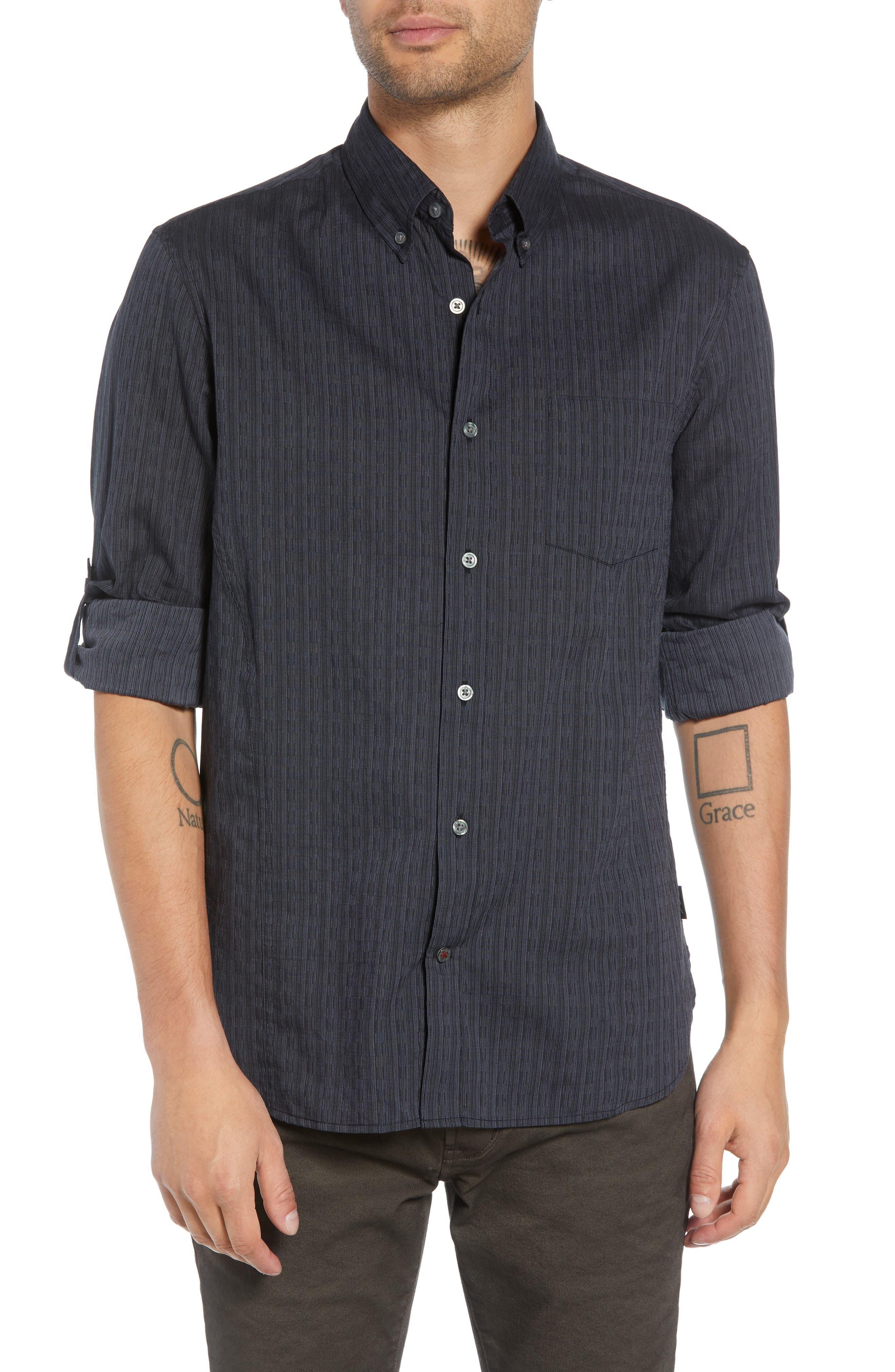 Regular Fit Roll Sleeve Sport Shirt,                         Main,                         color, BLACK