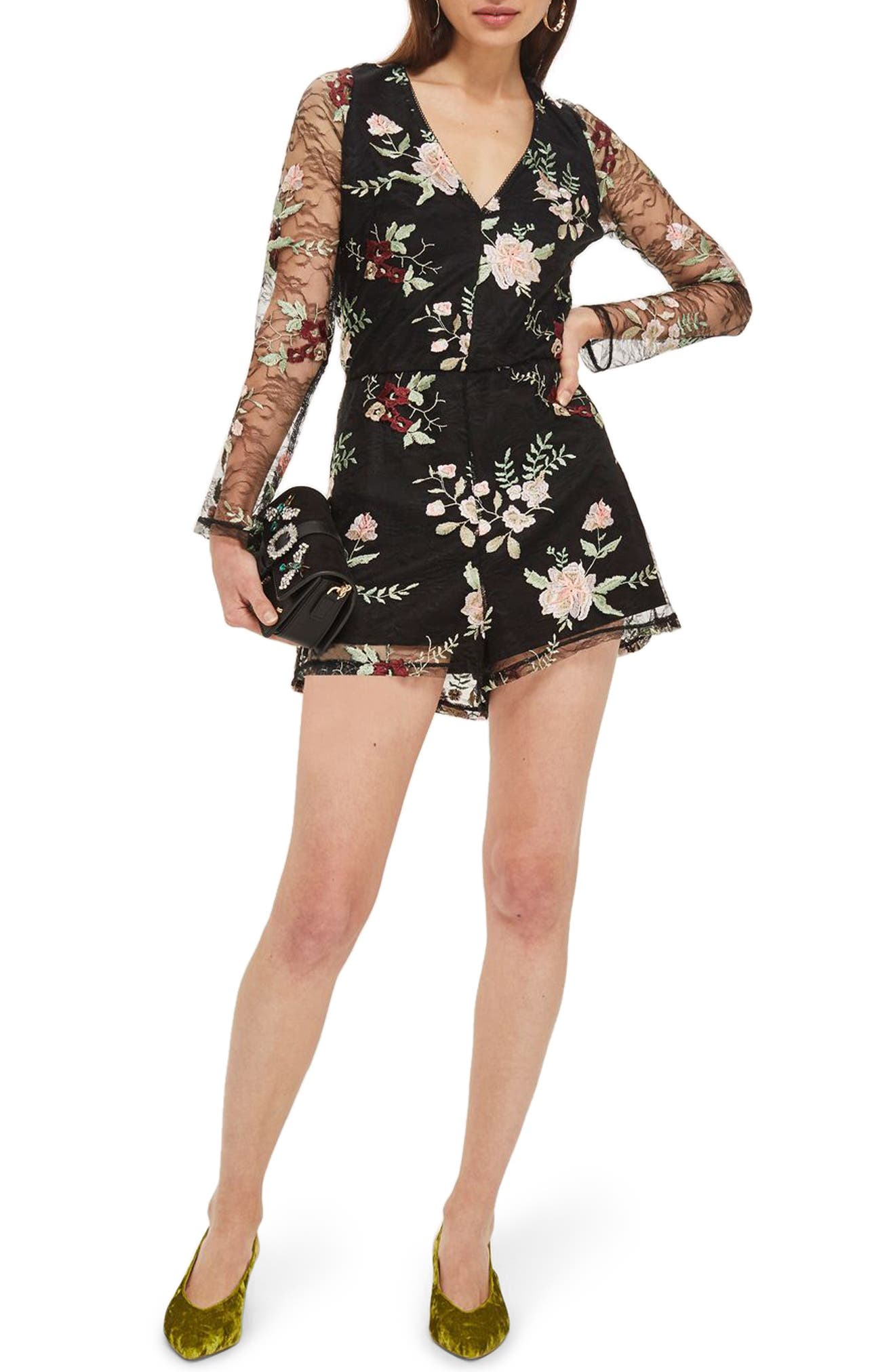 Embroidered Lace Romper,                             Main thumbnail 1, color,                             001