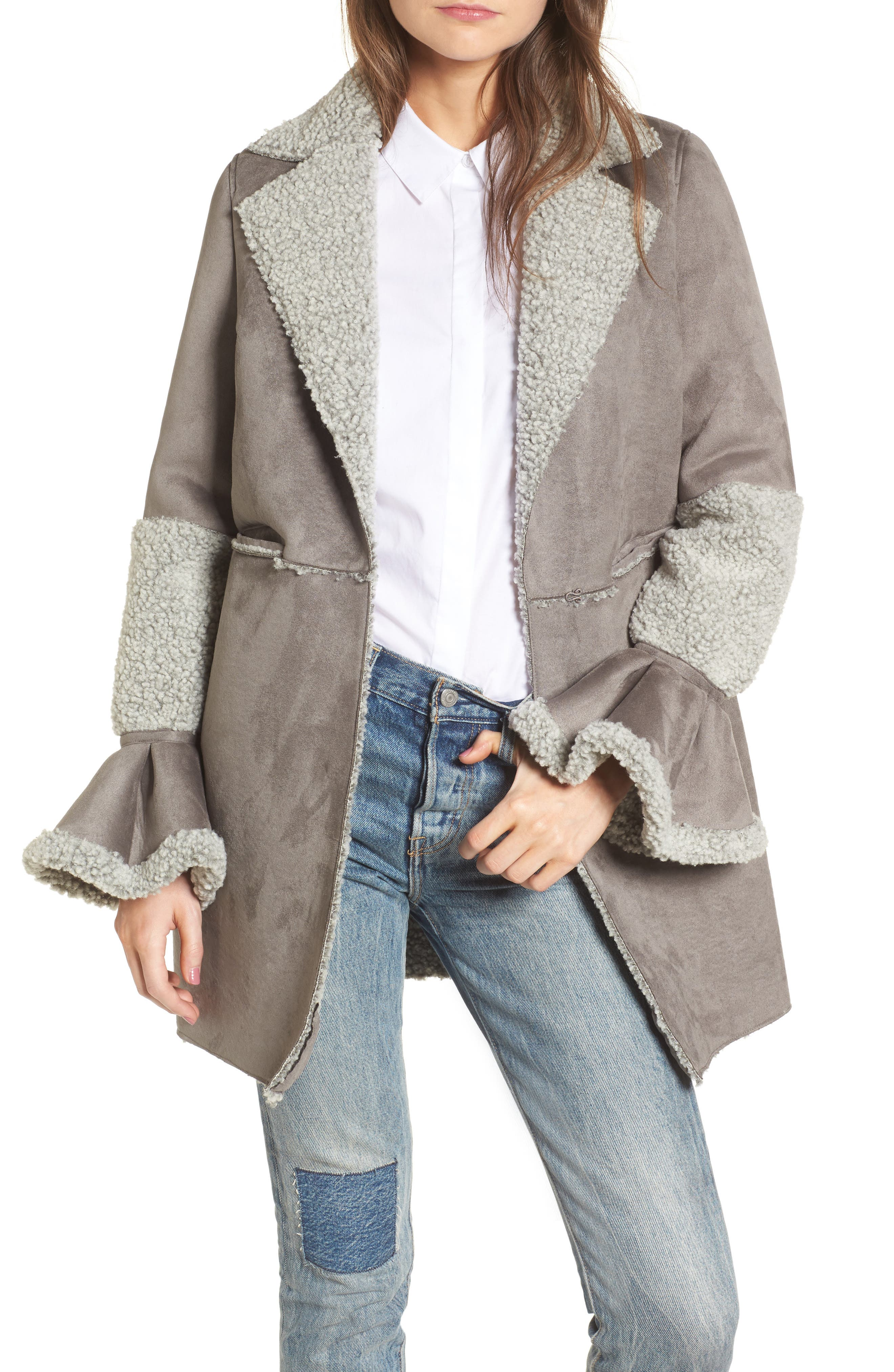 LOST INK Faux Shearling Coat, Main, color, 020