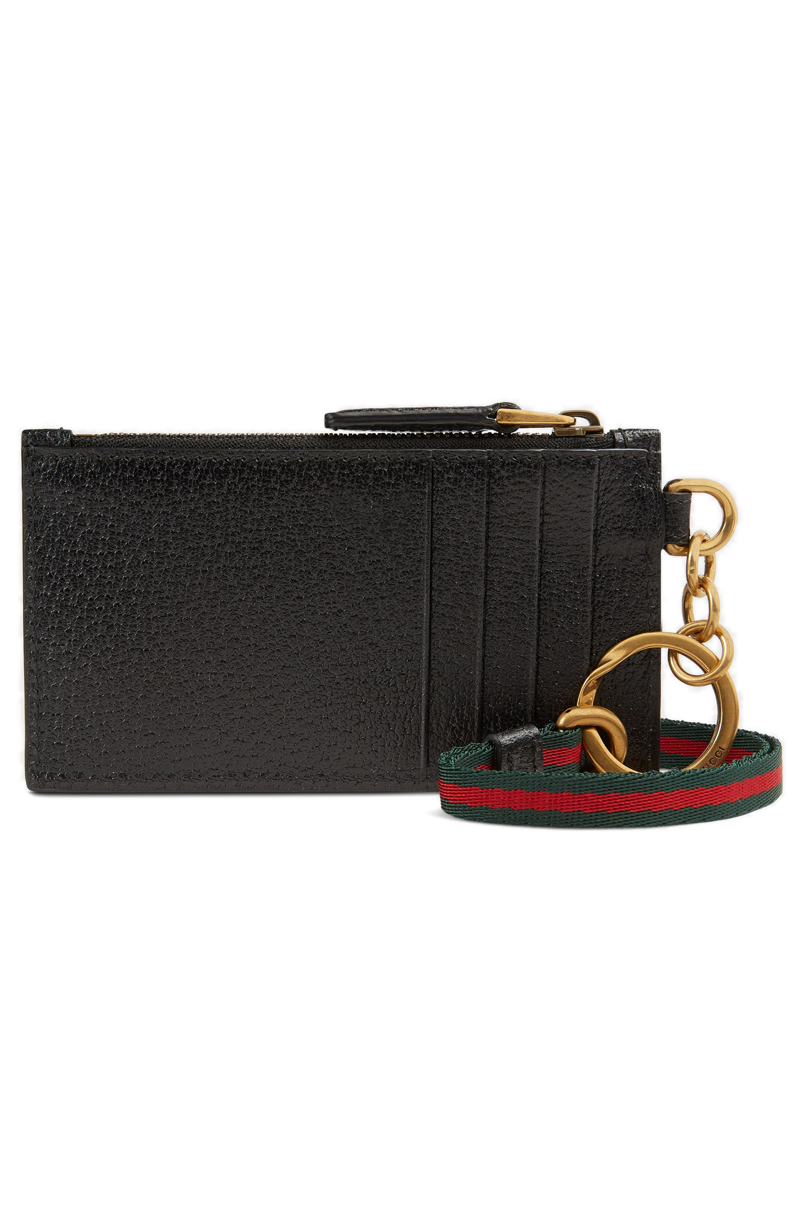 Lanyard Strap Zip Leather Pouch,                             Alternate thumbnail 3, color,                             001