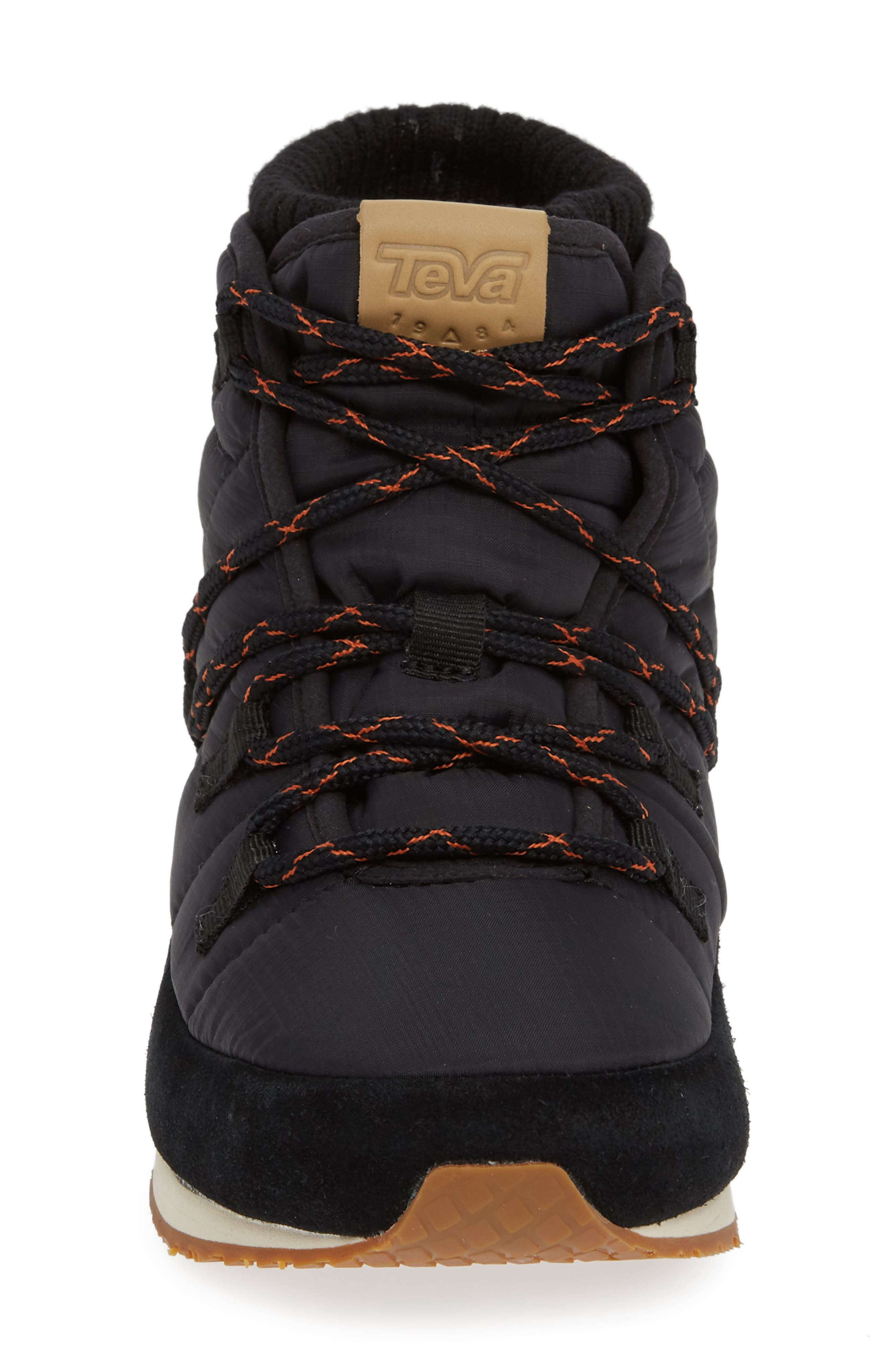 TEVA,                             Ember Lace-Up Winter Bootie,                             Alternate thumbnail 4, color,                             BLACK FABRIC