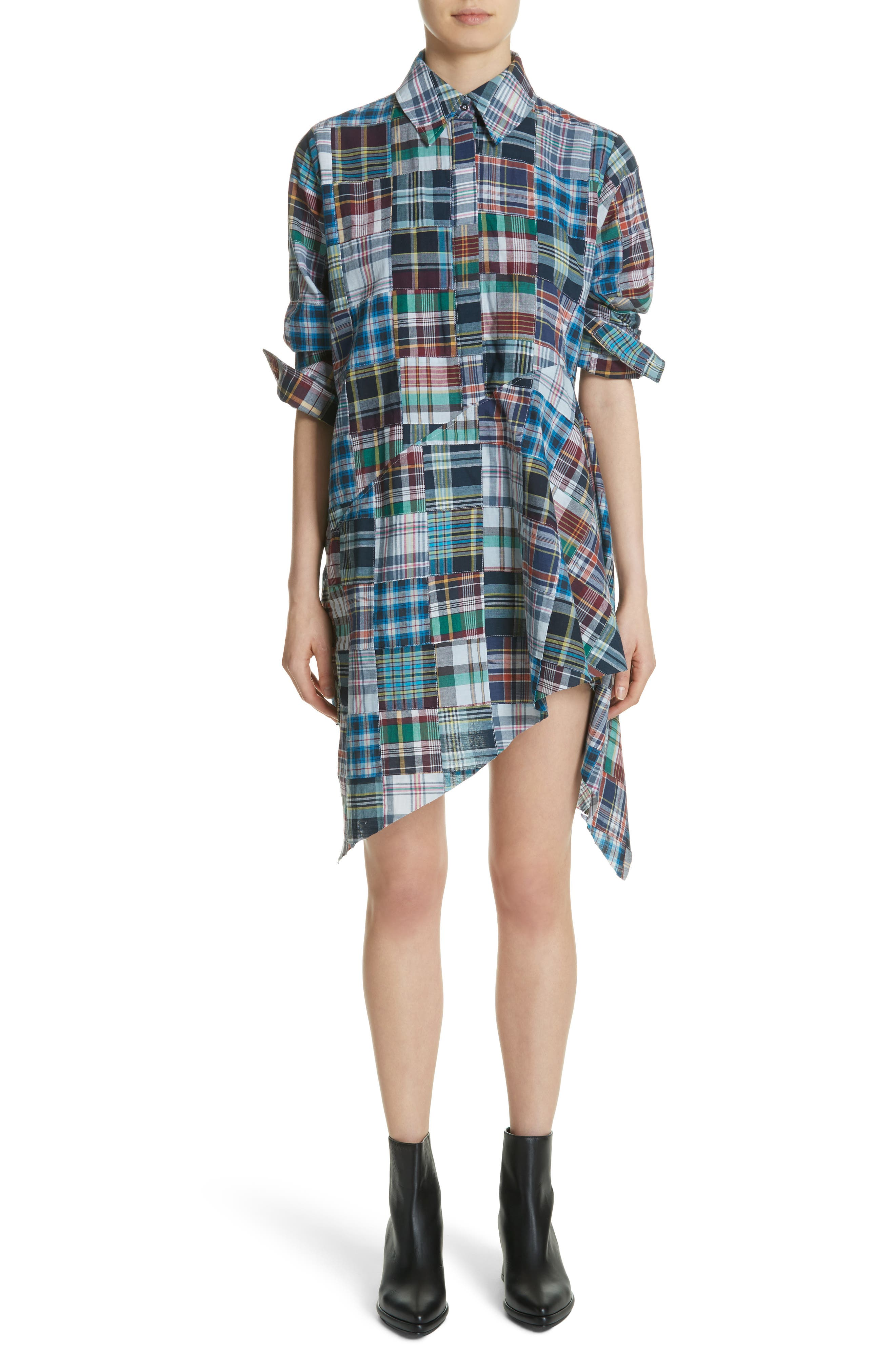 Marques'Almeida Asymmetric Patchwork Plaid Shirtdress,                         Main,                         color, 400
