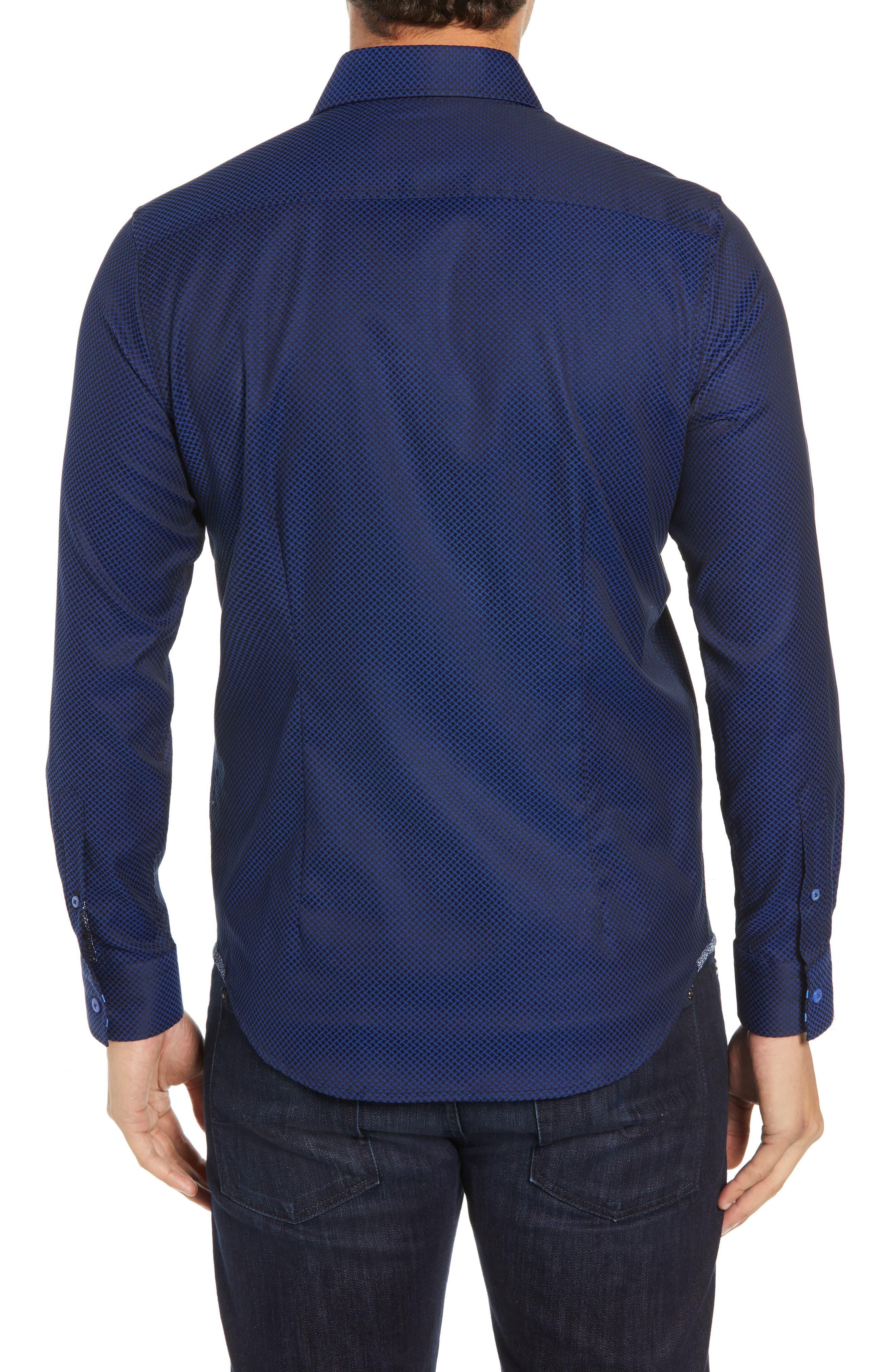 Anson Tailored Fit Jacquard Sport Shirt,                             Alternate thumbnail 3, color,                             NAVY