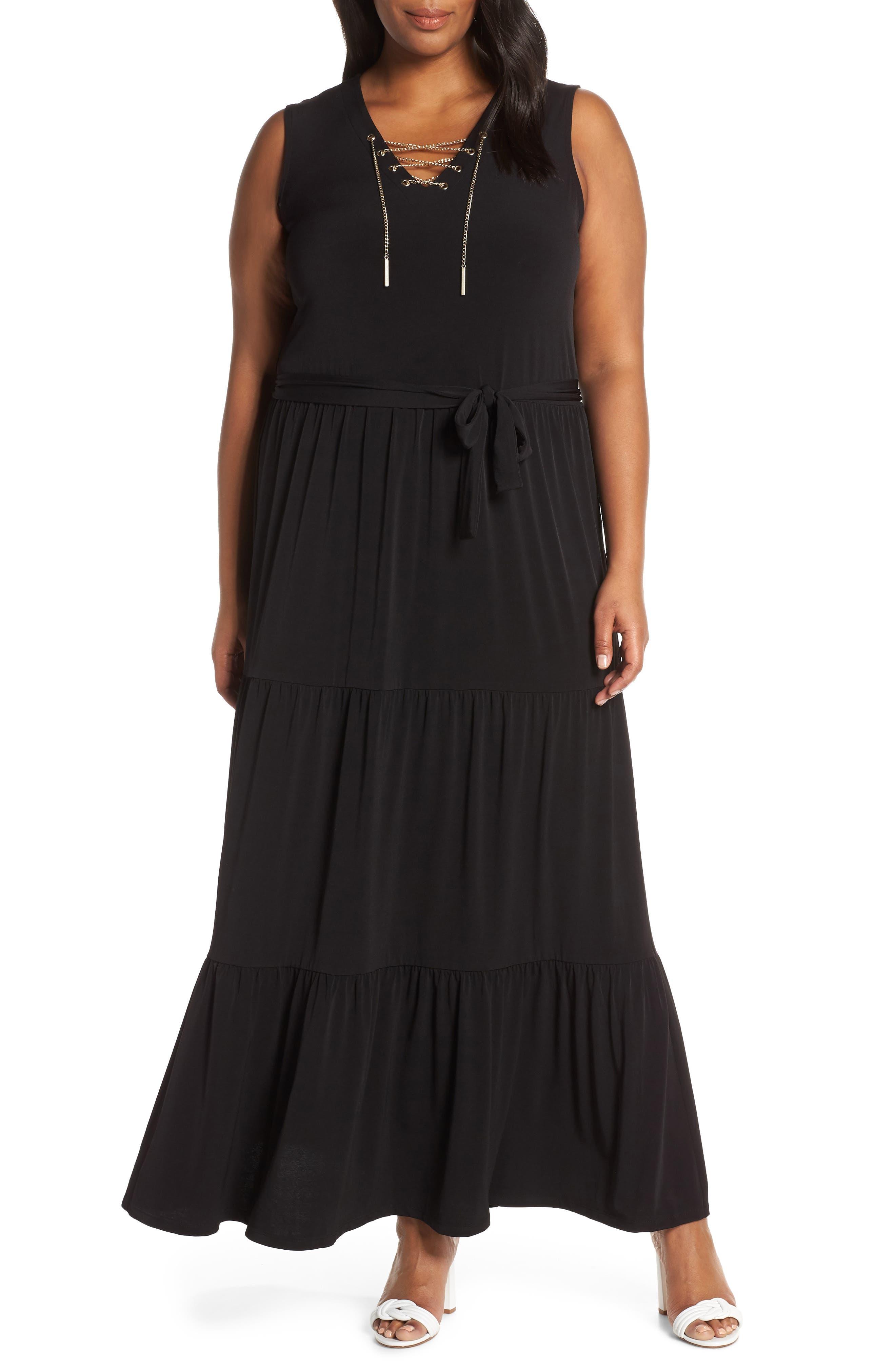 Plus Size Michael Michael Kors Lace Up Stretch Knit Maxi Dress, Black