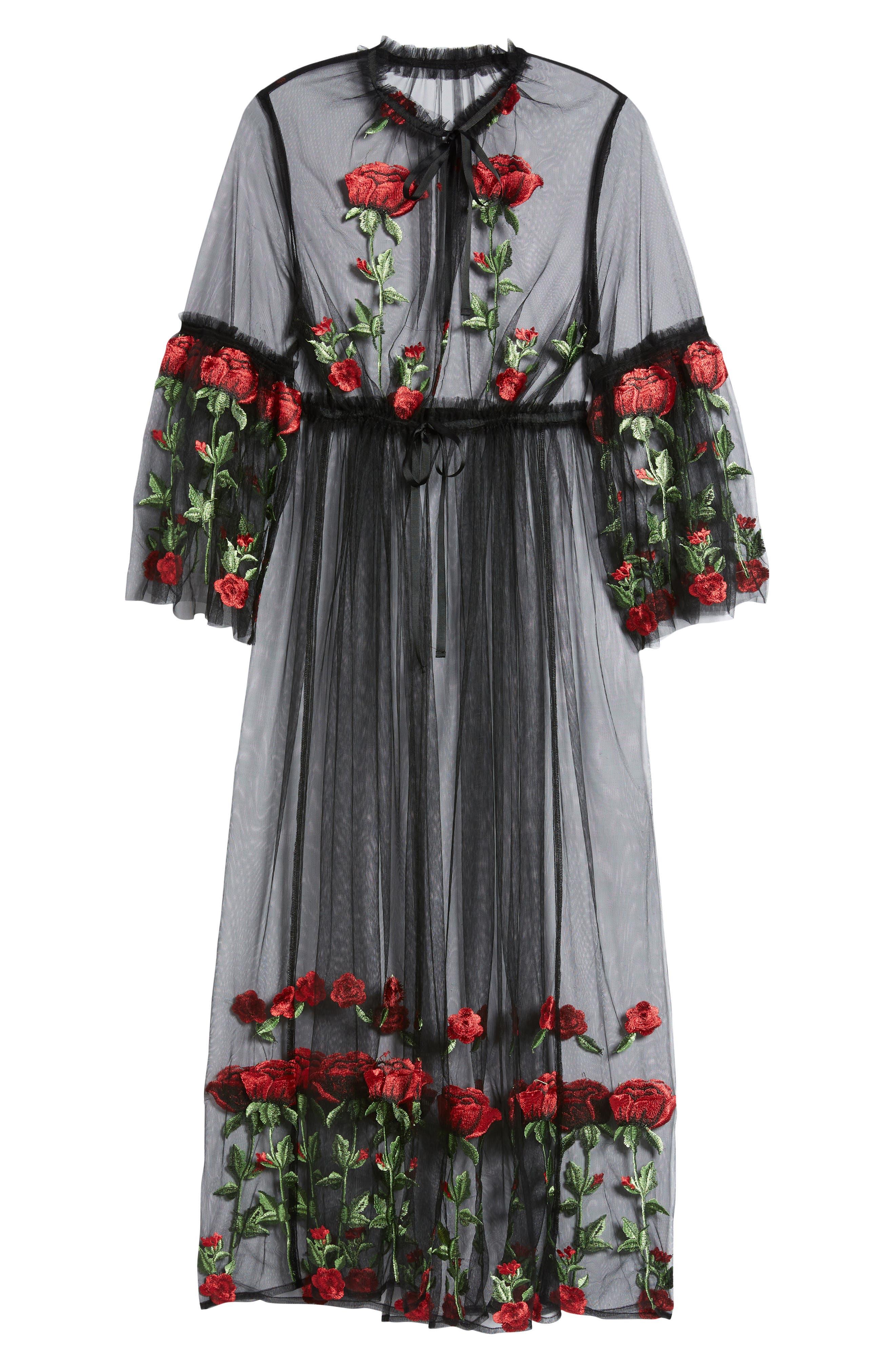 Desert Rose Kimono,                             Alternate thumbnail 6, color,                             BLACK