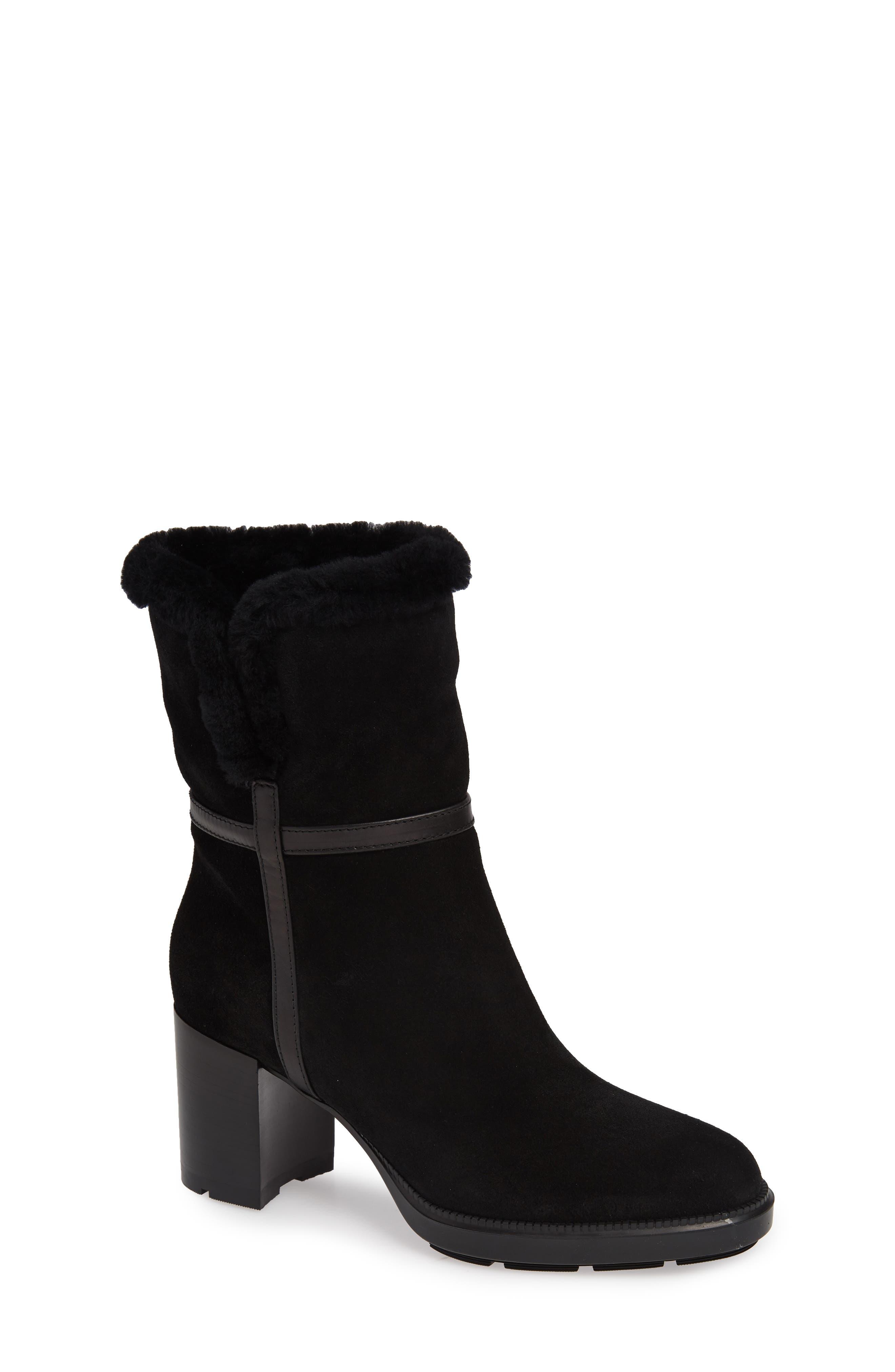 Aquatalia Isolda Genuine Shearling Weatherproof Boot- Black