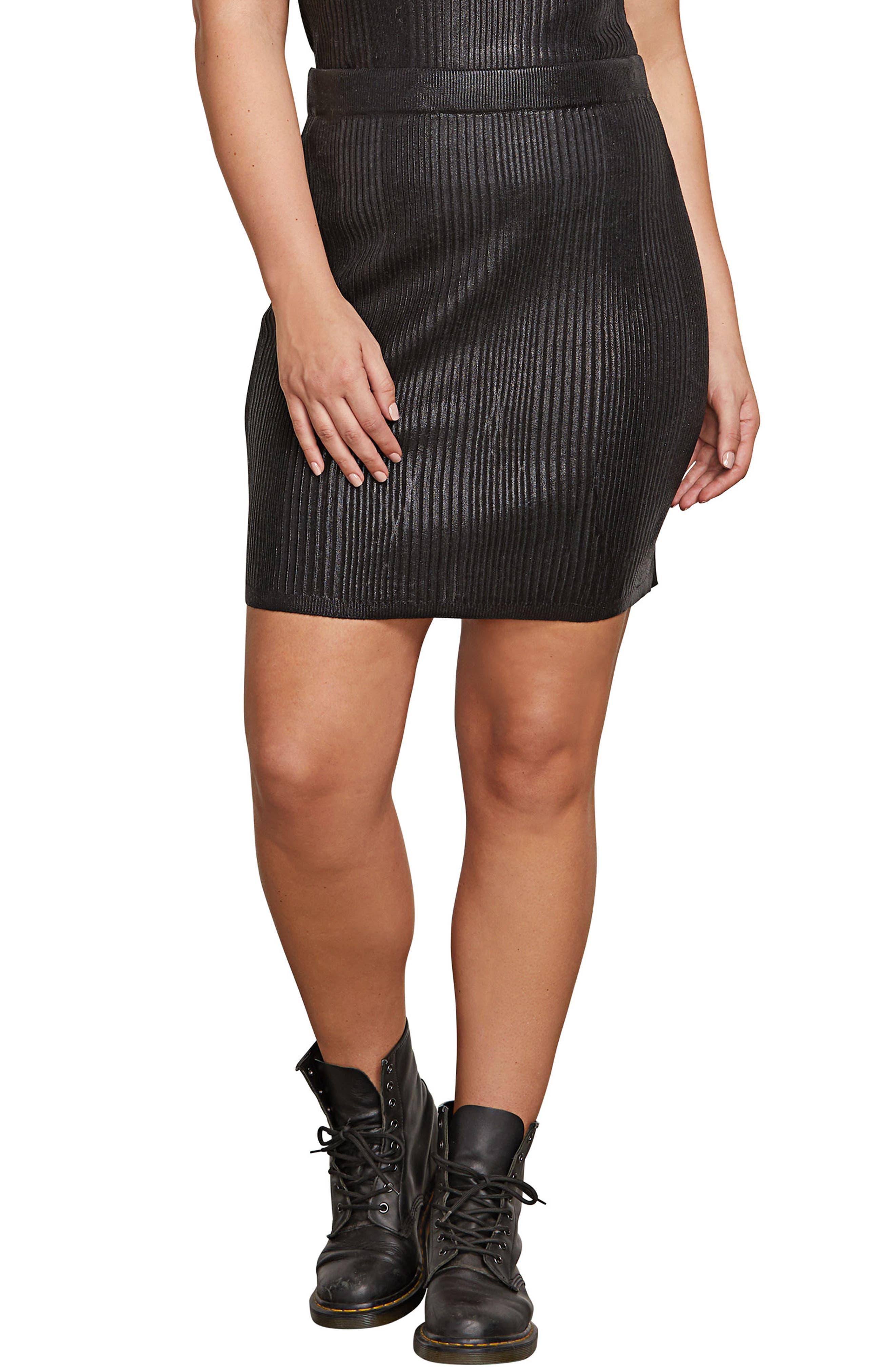 Plus Size Volcom Hey Slick Knit Skirt, Black