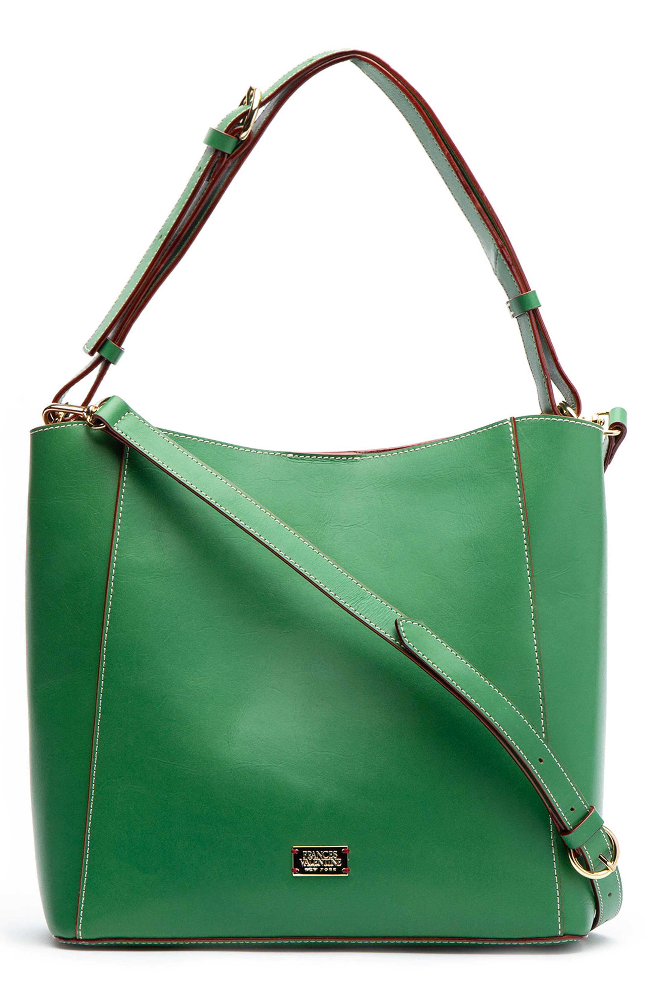 FRANCES VALENTINE Medium June Leather Hobo - Green in Green Ray