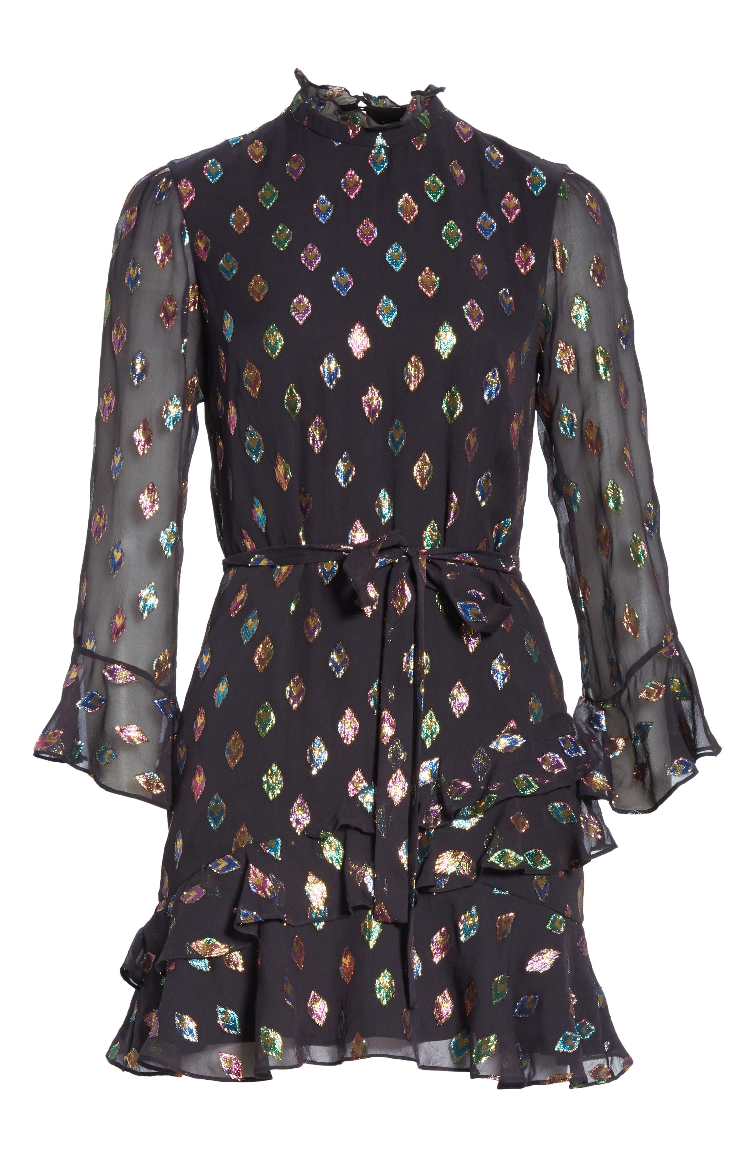 Marissa Metallic Fil Coupé Silk Blend Minidress,                             Alternate thumbnail 6, color,                             BLACK RAINBOW