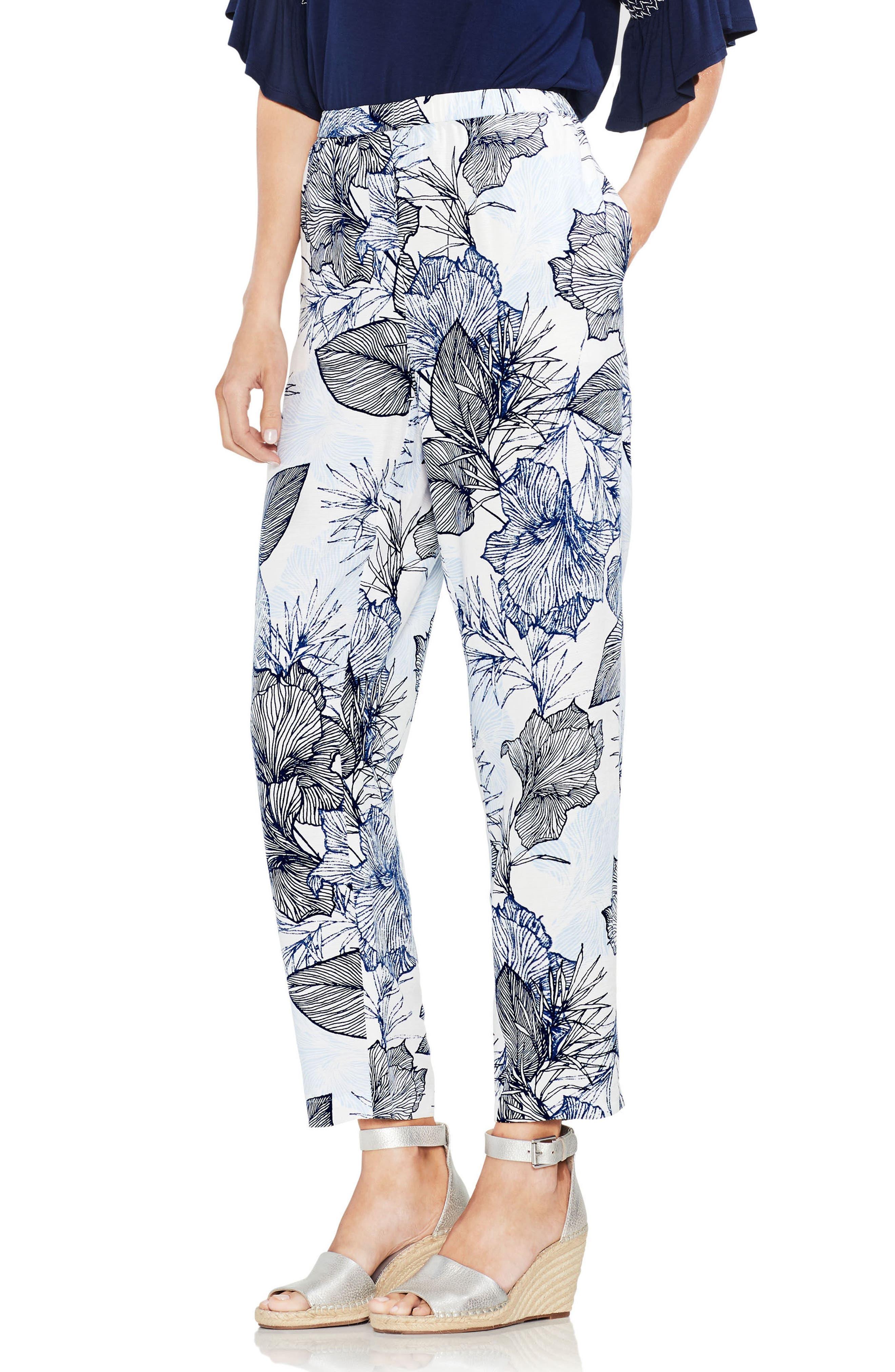 Etched Island Floral Slim Pants,                             Main thumbnail 1, color,