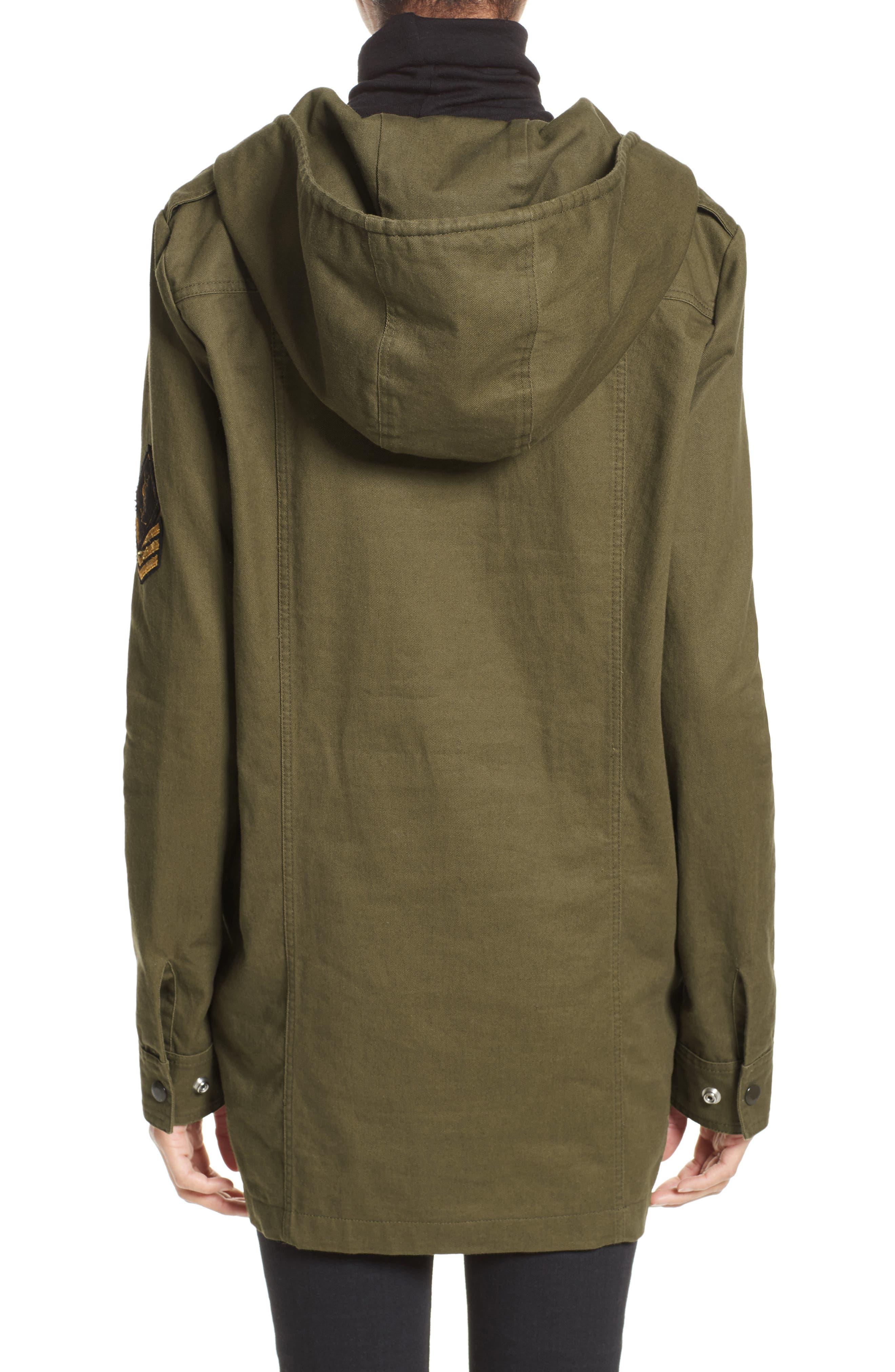 Patch Embellished Cotton Blend Gabardine Dress,                             Alternate thumbnail 2, color,