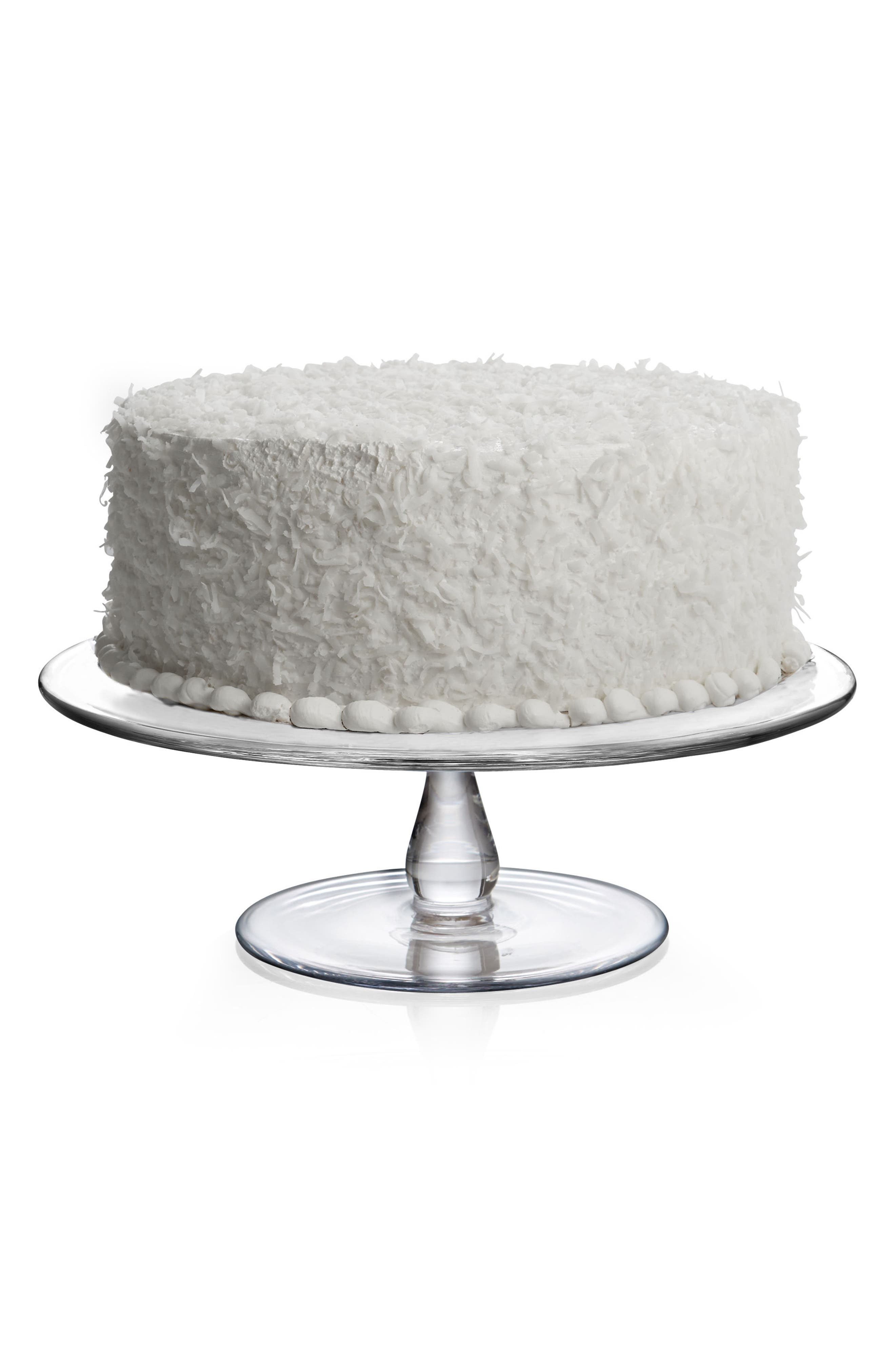 Small Moderne Cake Plate,                             Alternate thumbnail 3, color,                             CLEAR